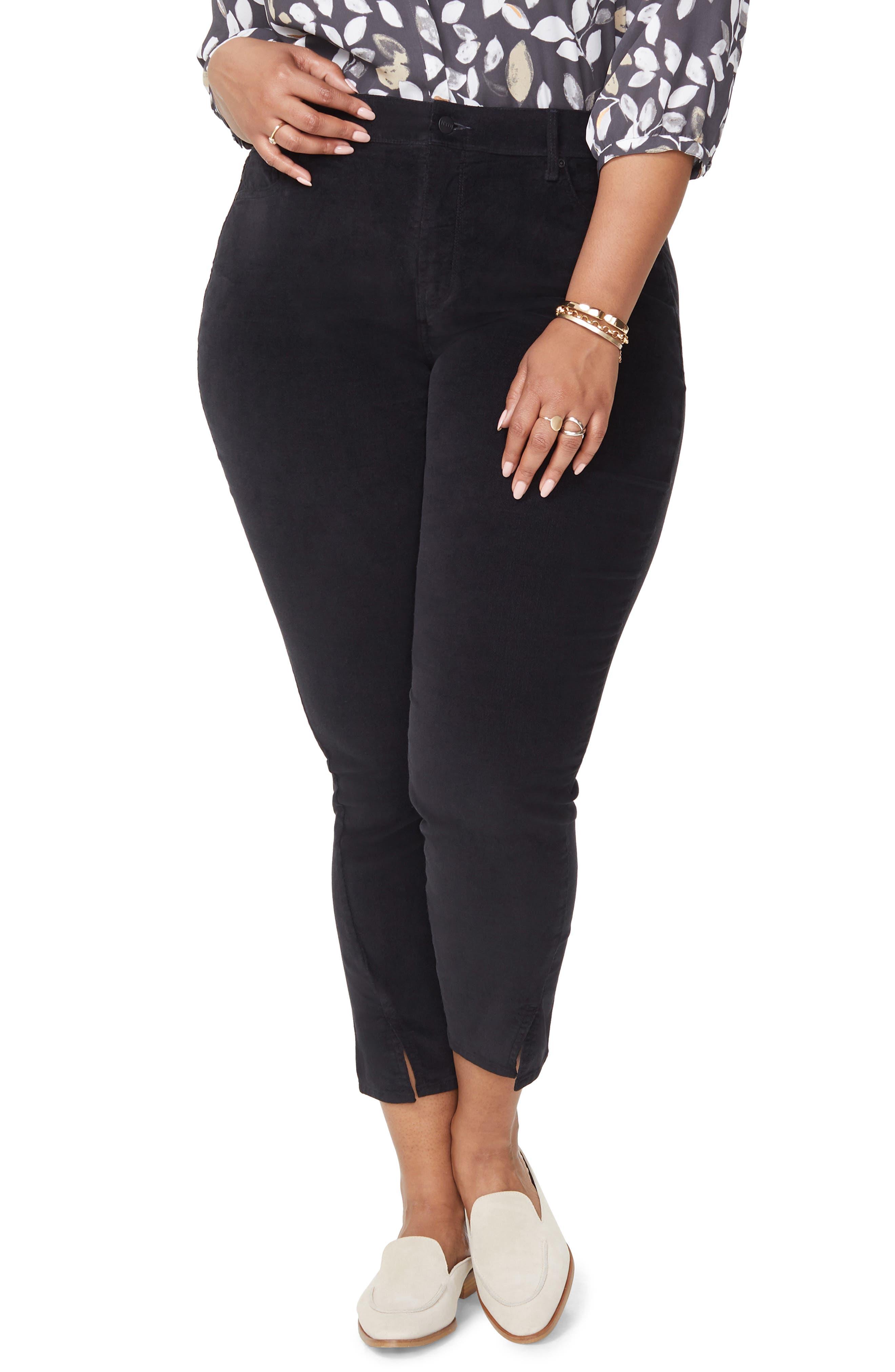 Ami Twist Seam Ankle Slit Velvet Pants,                         Main,                         color, BLACK