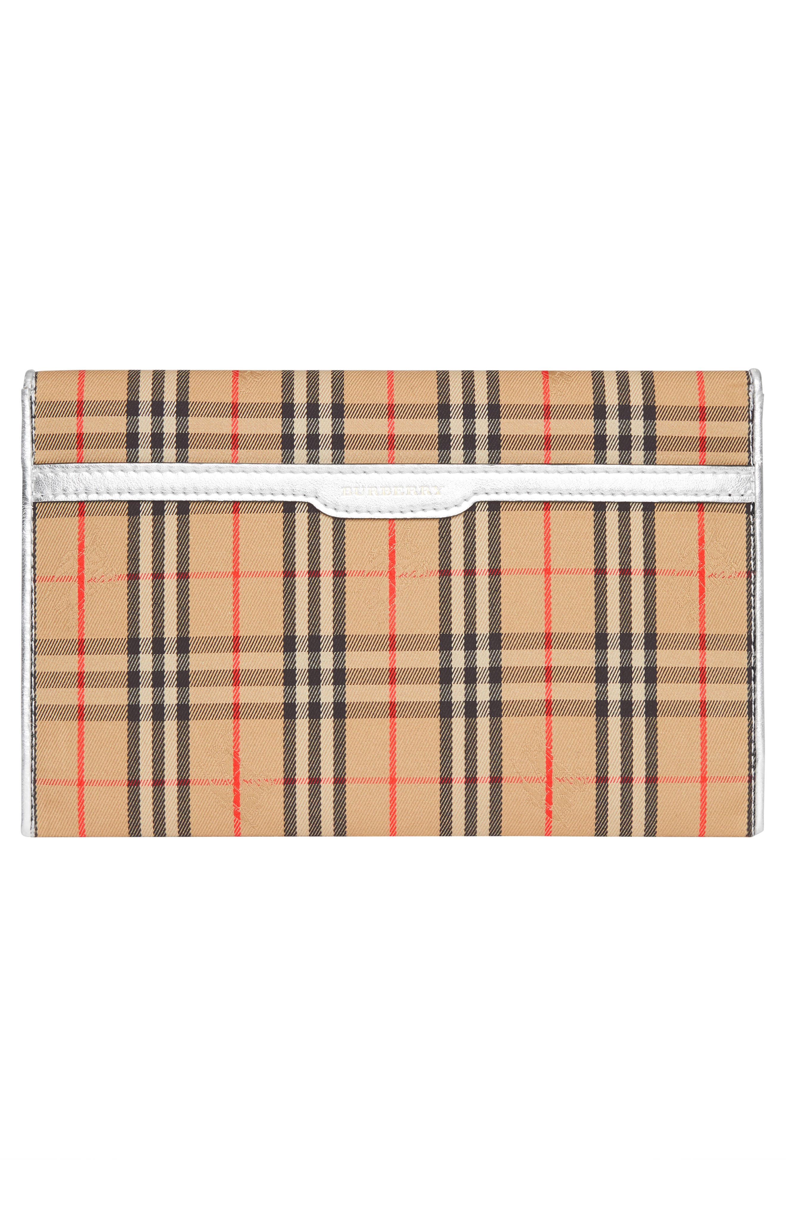 1983 Check Cotton & Leather Envelope Clutch,                             Alternate thumbnail 2, color,                             ANTIQUE YELLOW/ SILVER