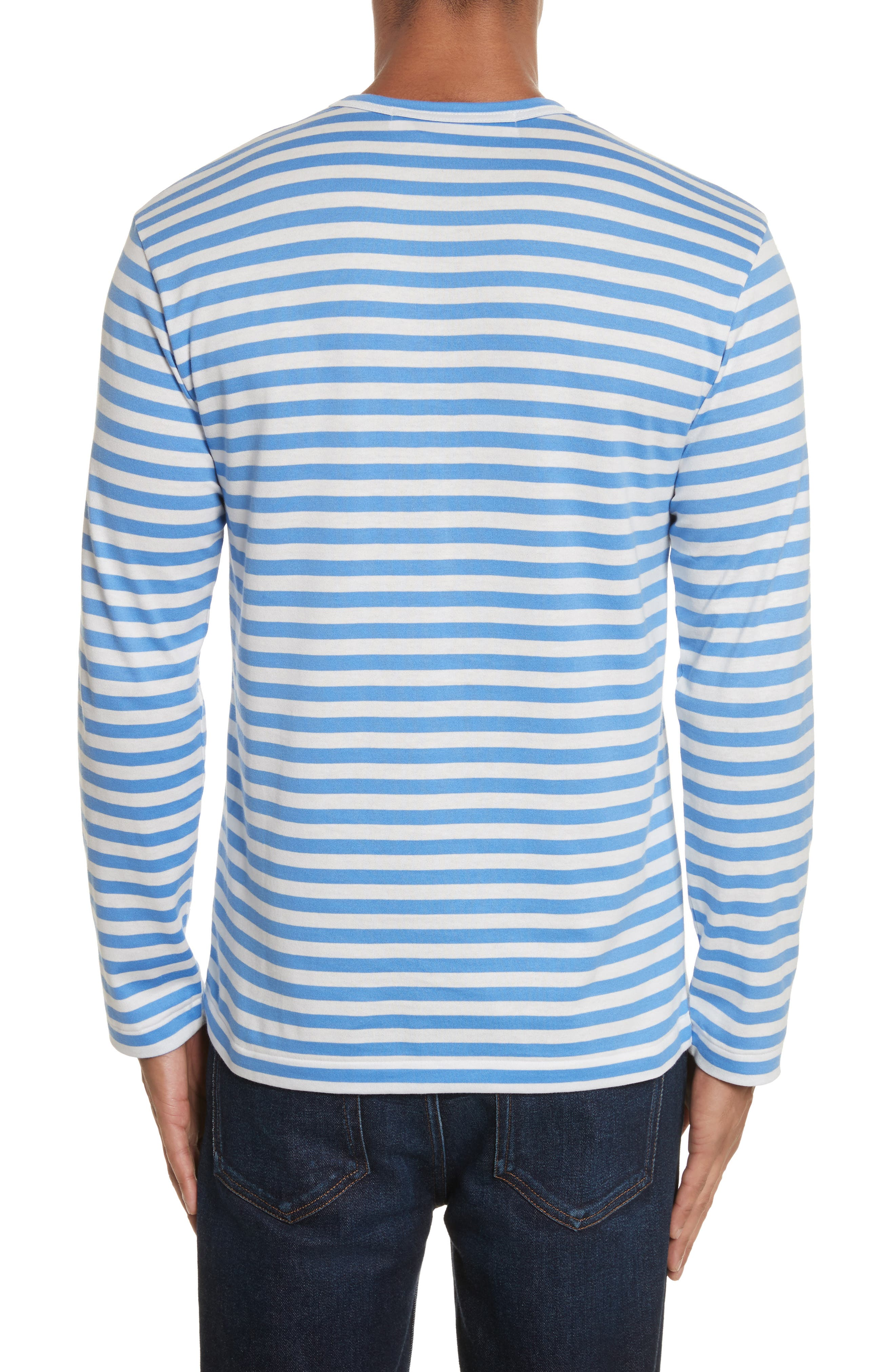 Long Sleeve Stripe Crewneck T-Shirt,                             Alternate thumbnail 2, color,                             BLUE