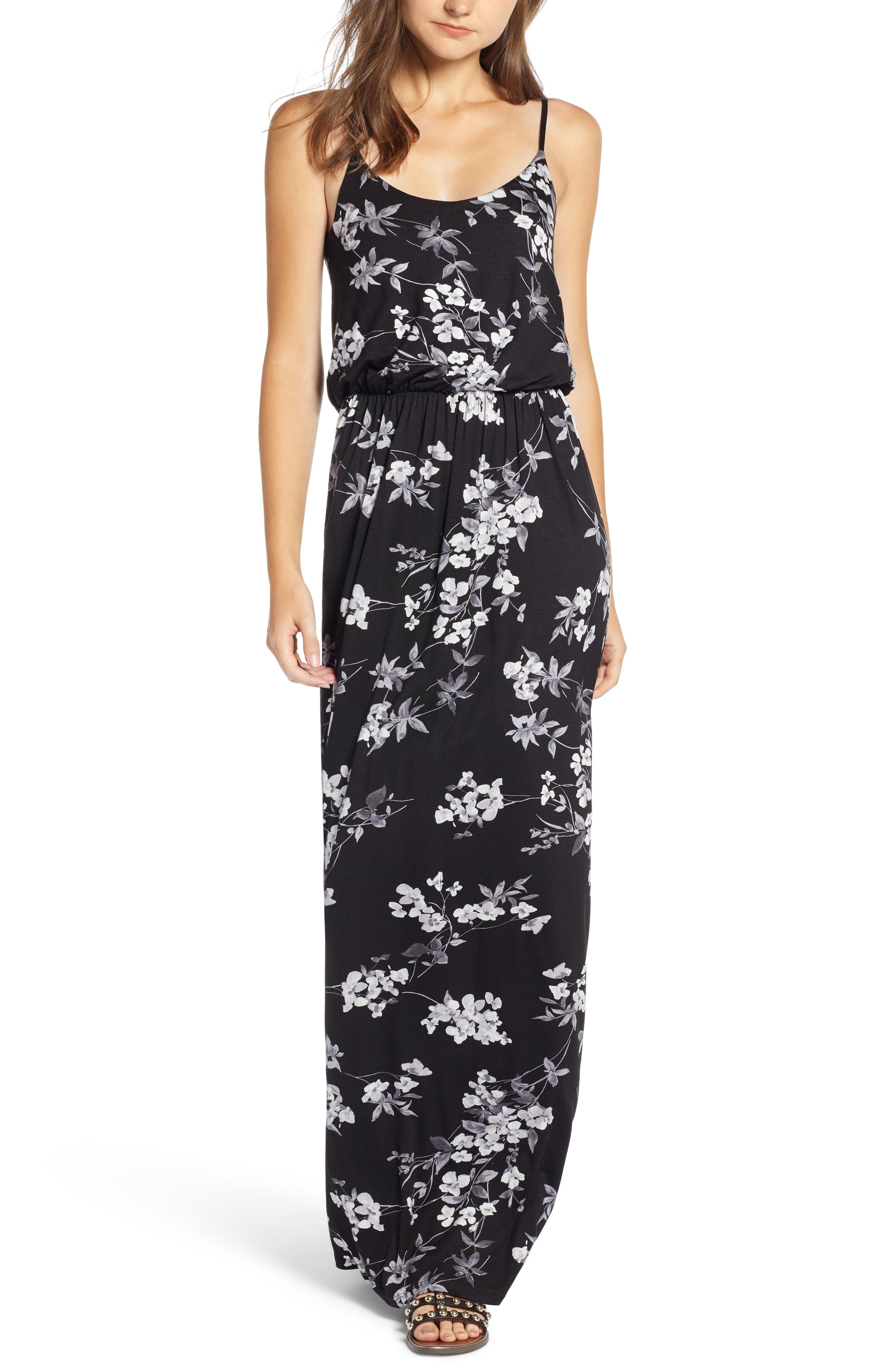 Knit Maxi Dress,                         Main,                         color, BLACK/ CHARCOAL FLORAL
