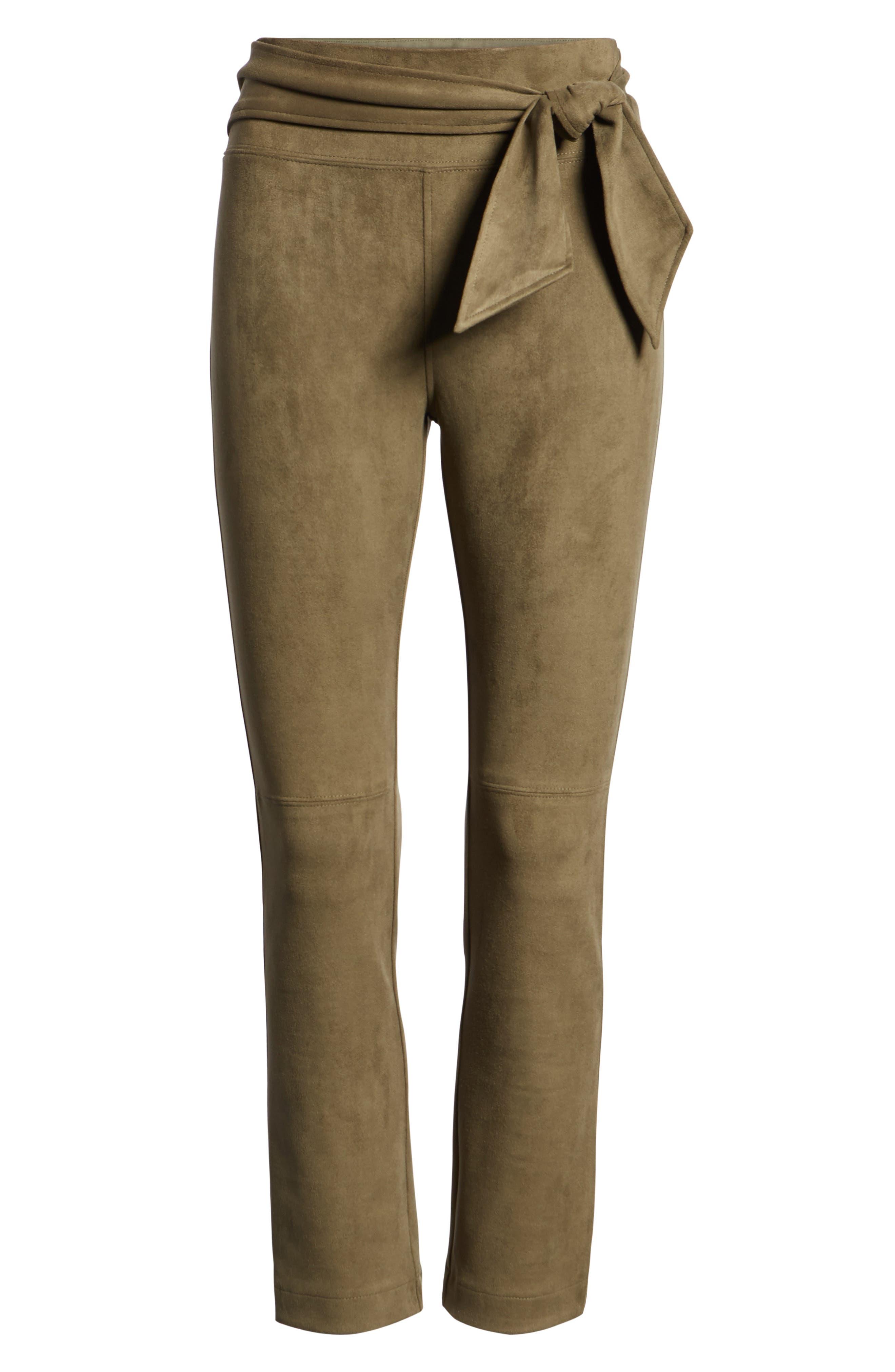 DAVID LERNER,                             Waist Tie Skimmer Leggings,                             Alternate thumbnail 6, color,                             ARMY GREEN