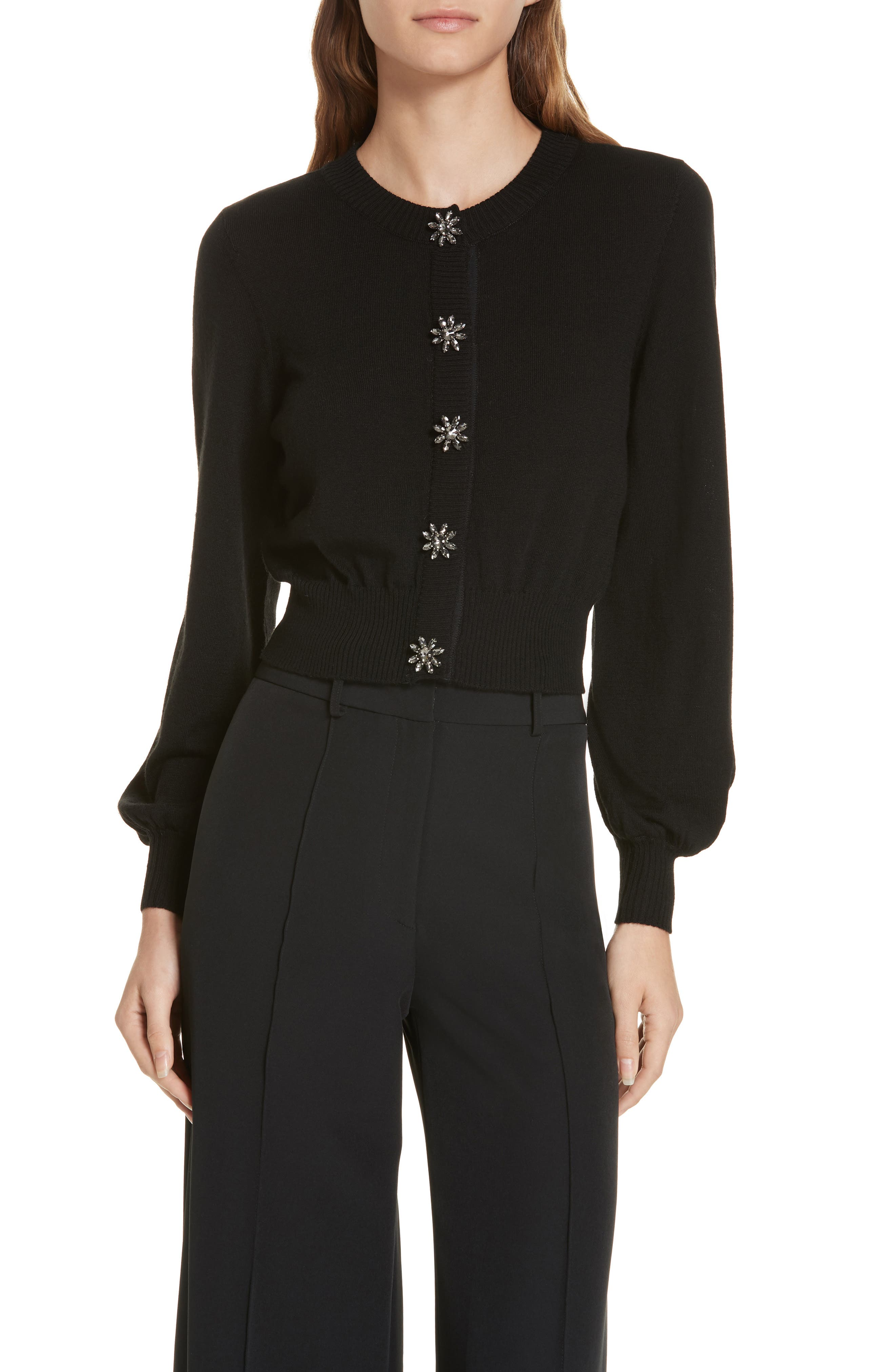 Gem Button Cardigan,                         Main,                         color, BLACK