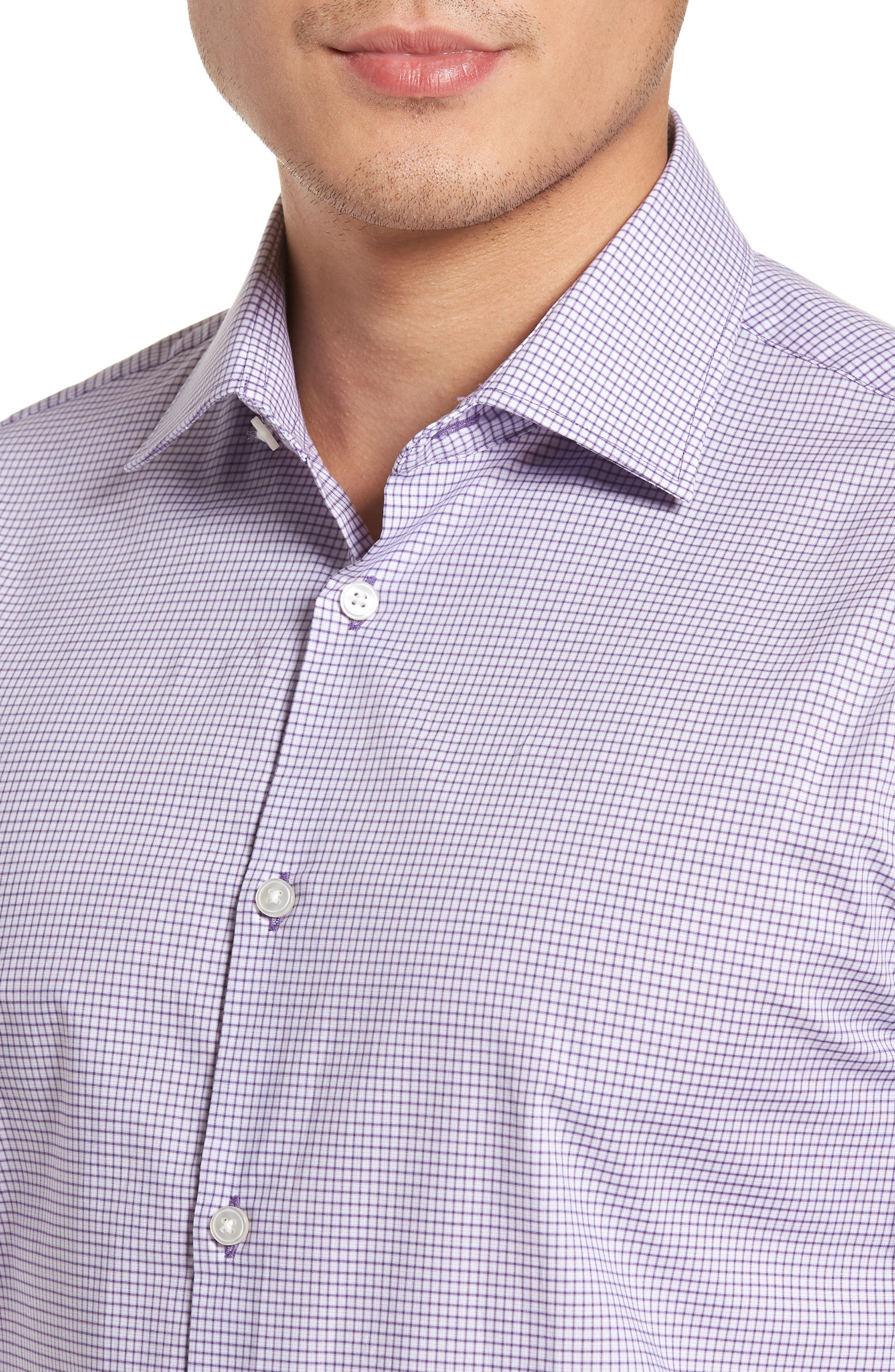 Regular Fit Stretch Check Dress Shirt,                             Alternate thumbnail 2, color,                             522
