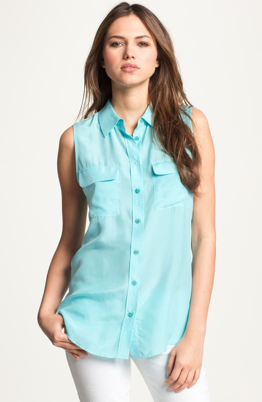 'Slim Signature' Sleeveless Silk Shirt,                             Main thumbnail 23, color,