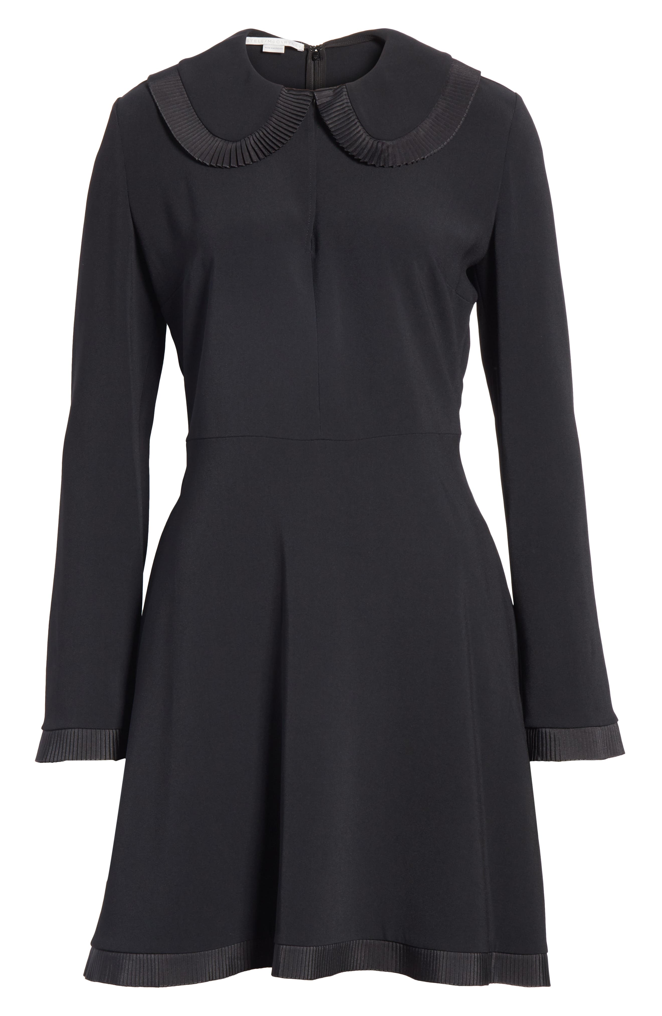 Ruffle Trim Keyhole Dress,                             Alternate thumbnail 6, color,                             BLACK