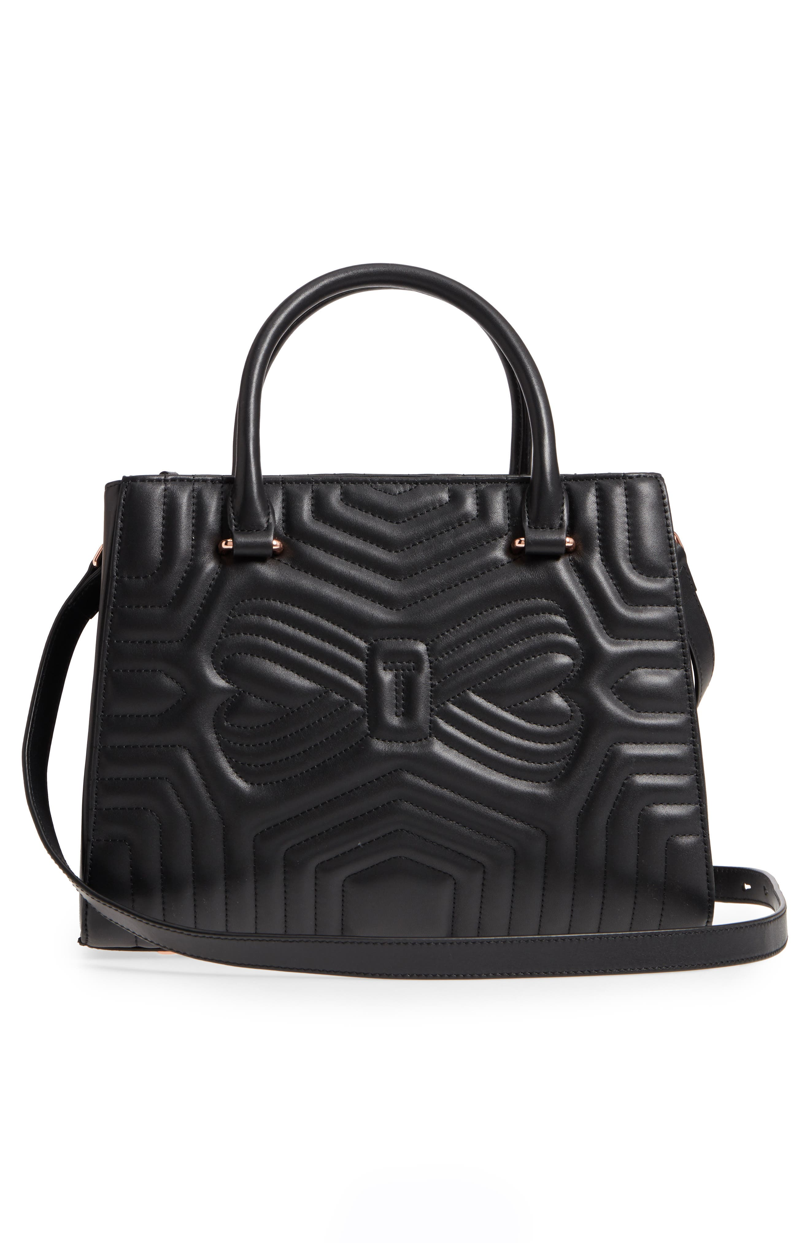 Quilted Bow Leather Tote,                             Alternate thumbnail 3, color,                             001