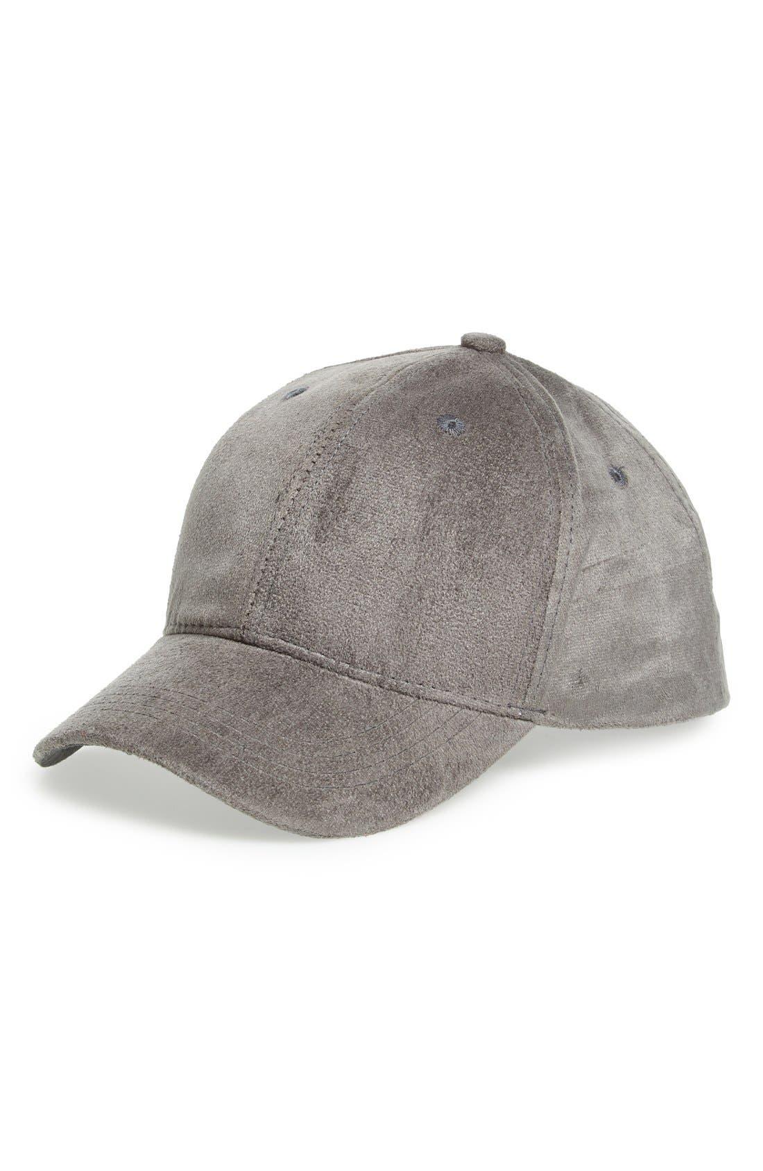 Faux Suede Ball Cap,                         Main,                         color, 030