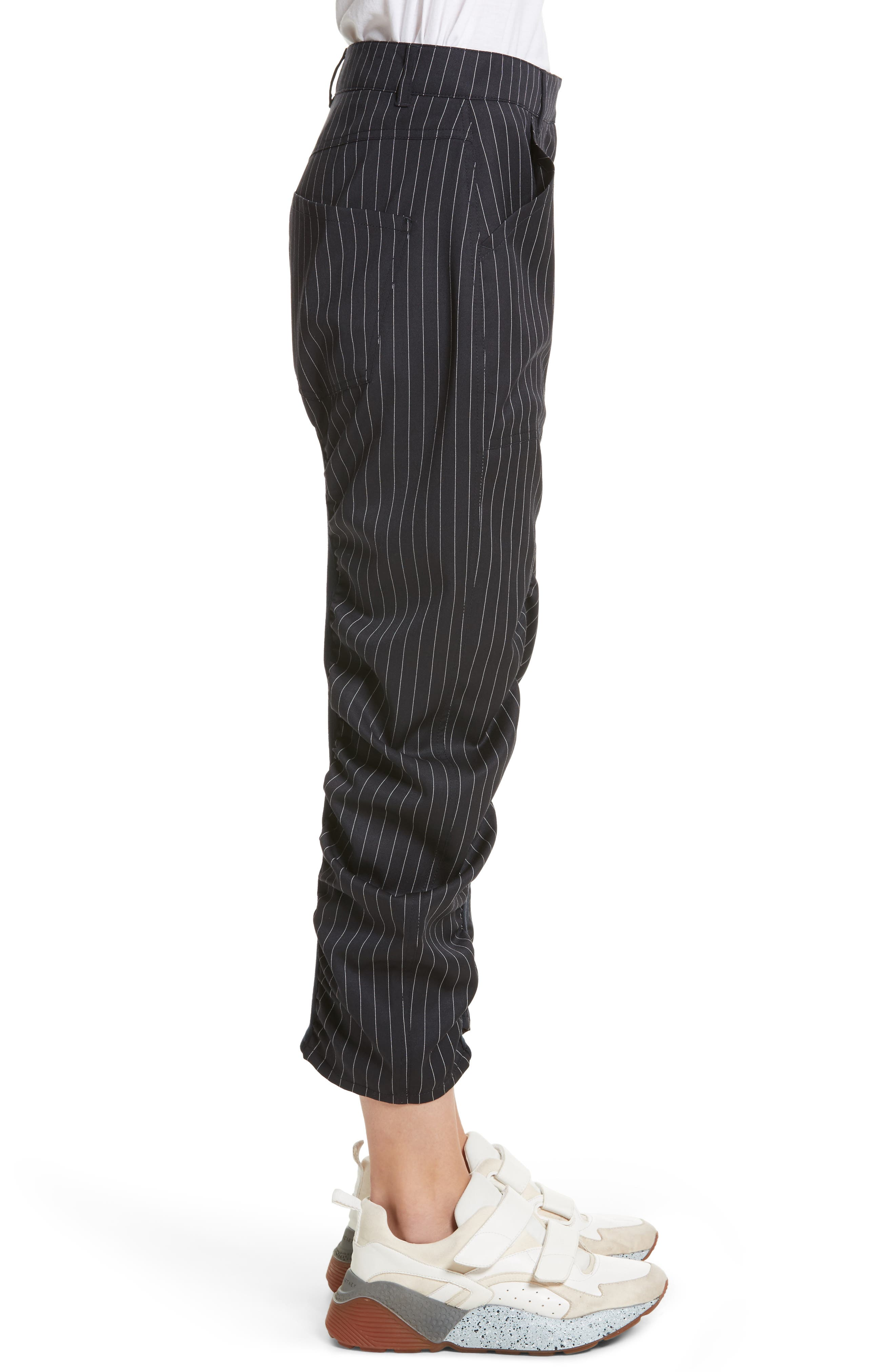 Ruched Pinstripe Trousers,                             Alternate thumbnail 3, color,                             010