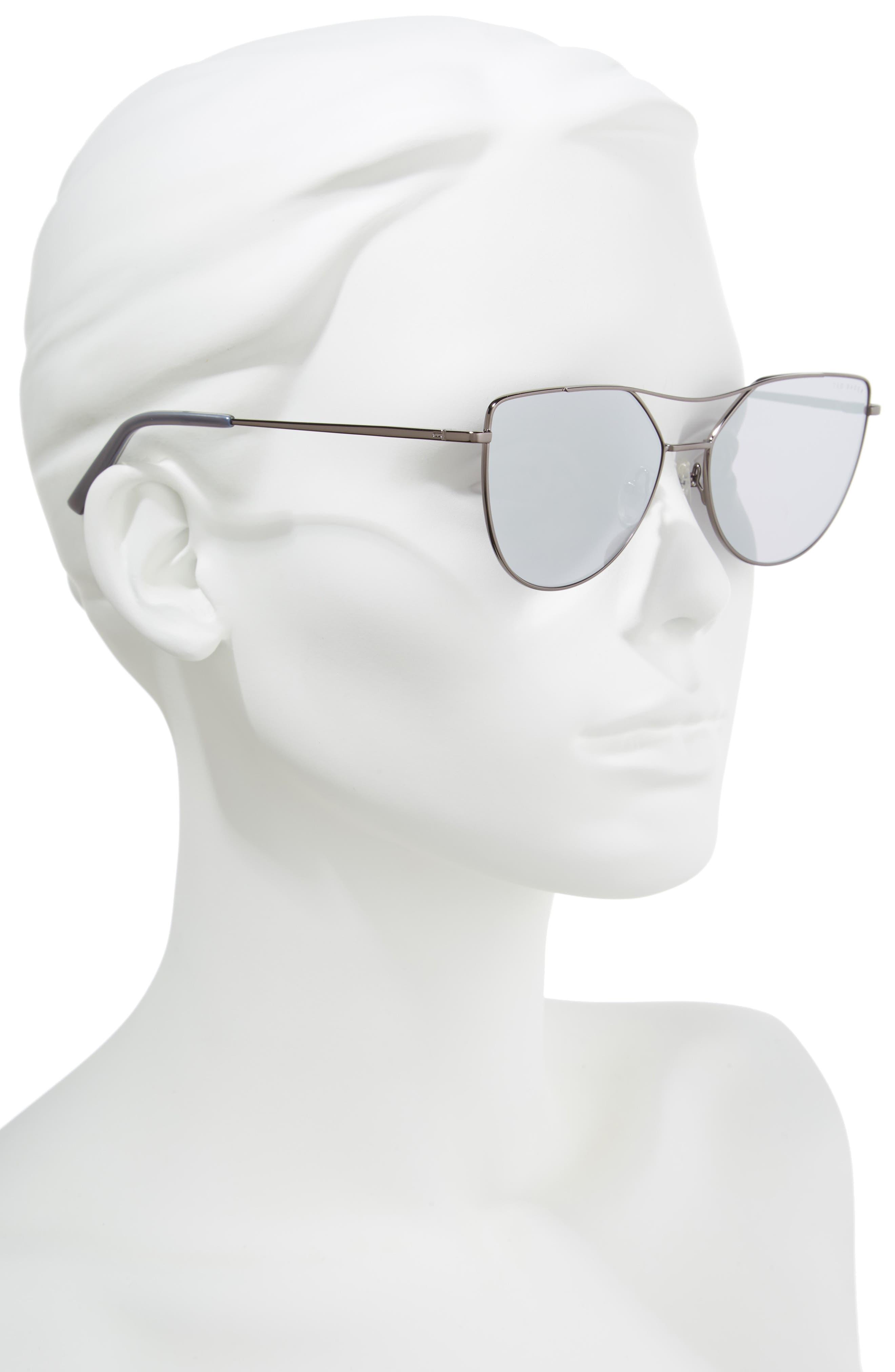 57mm Geometric Aviator Sunglasses,                             Alternate thumbnail 2, color,                             GUN METAL