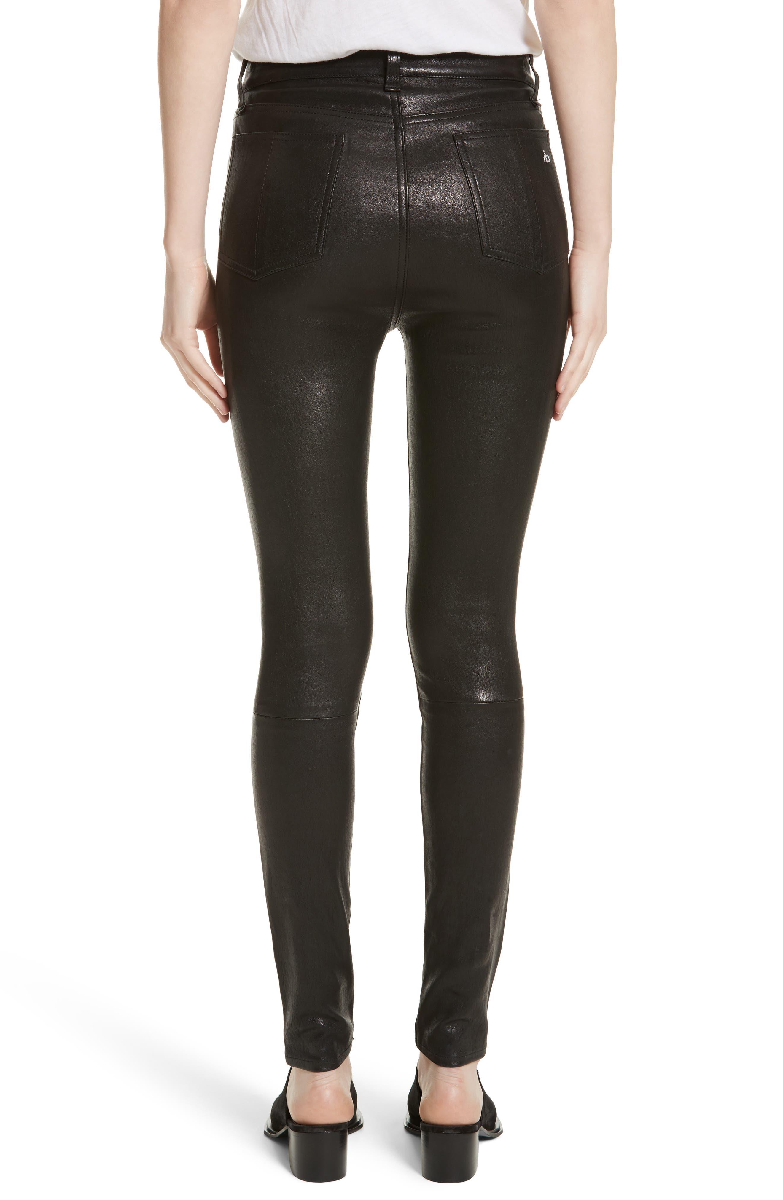 Lambskin Leather Pants,                             Alternate thumbnail 6, color,
