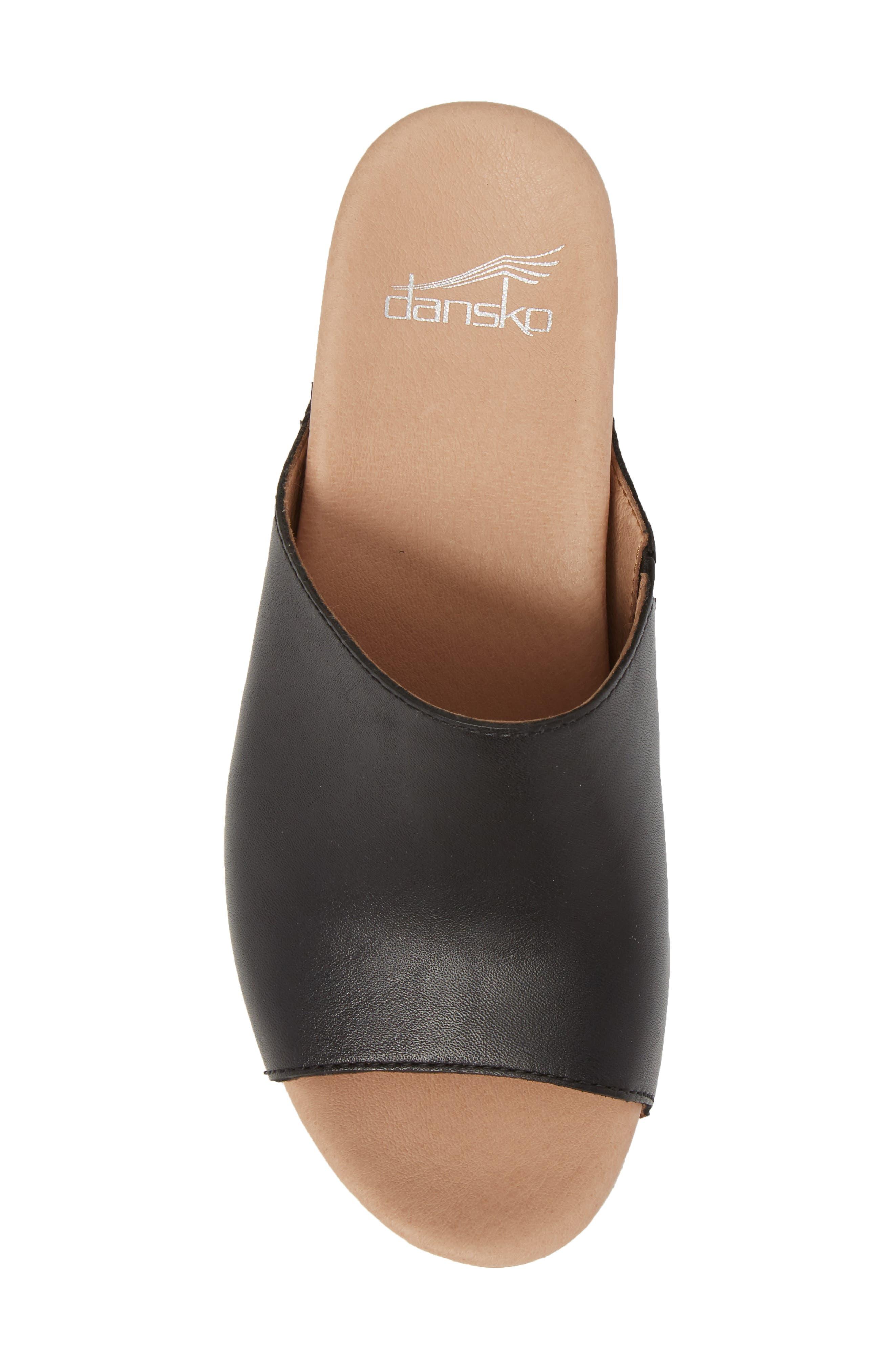 Maci Mule Sandal,                             Alternate thumbnail 5, color,                             BLACK LEATHER