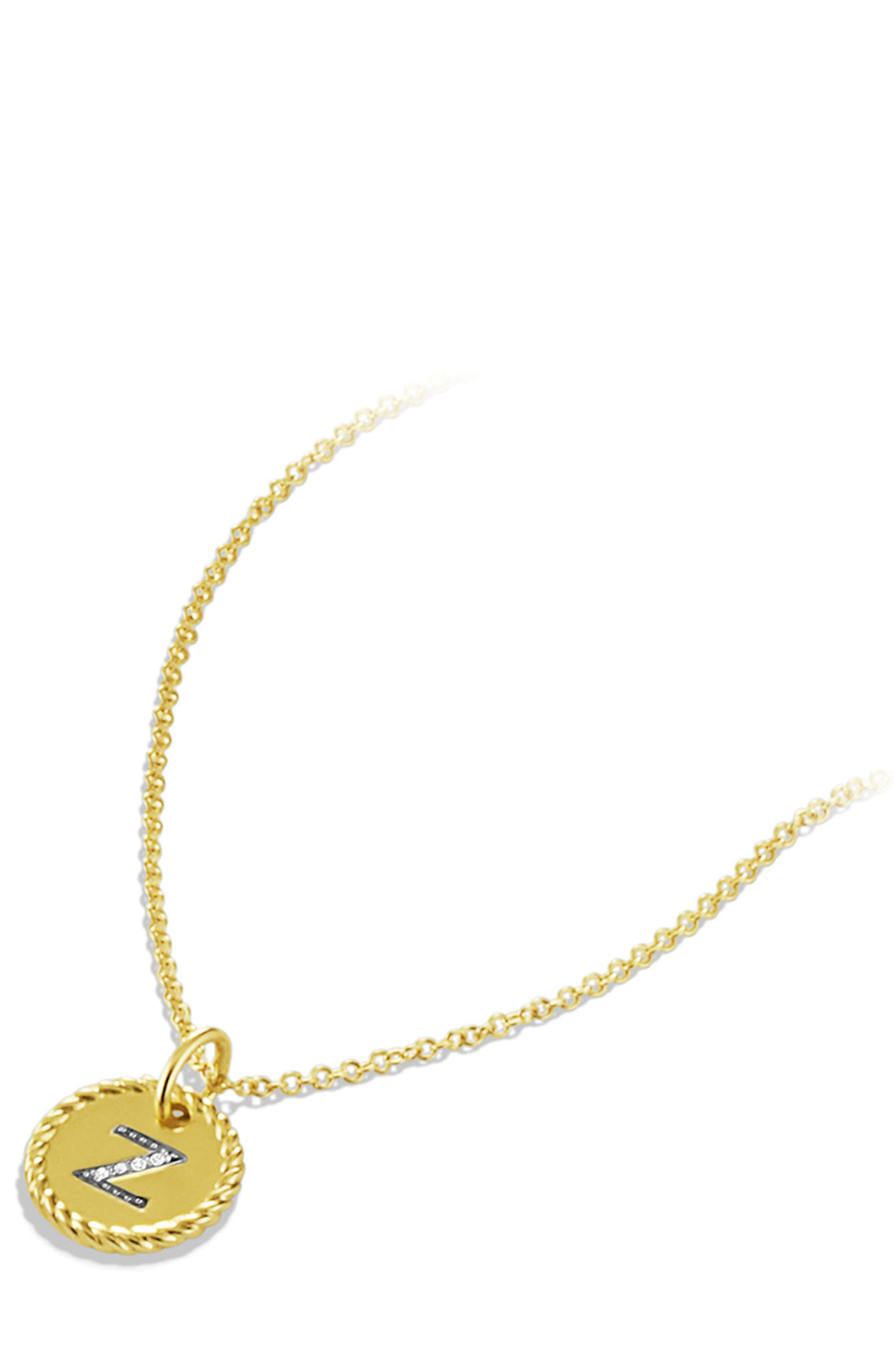 Initial Charm Necklace with Diamonds in 18K Gold,                             Alternate thumbnail 2, color,                             735