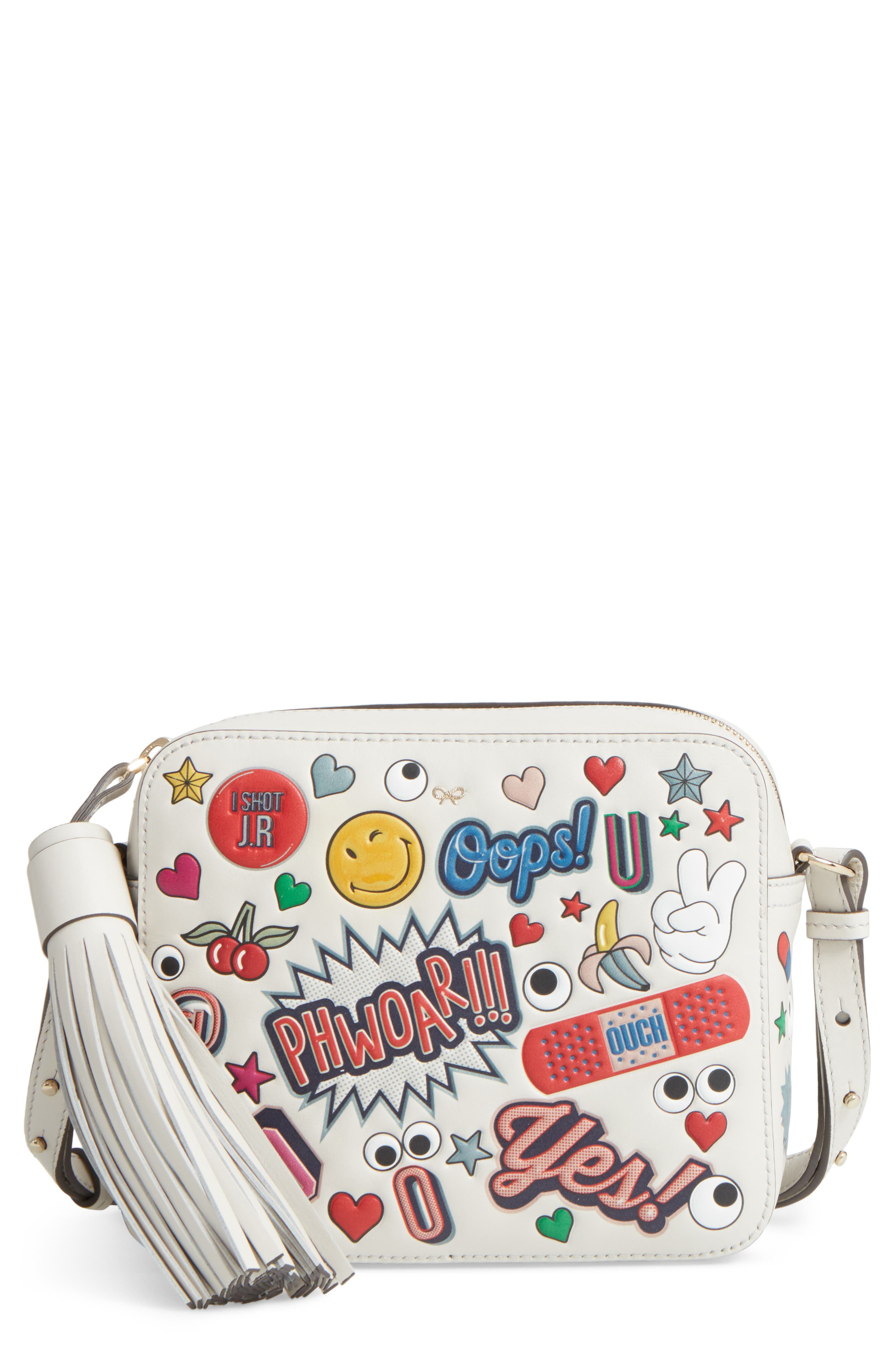 Allover Sticker Leather Crossbody Bag,                             Main thumbnail 1, color,                             111