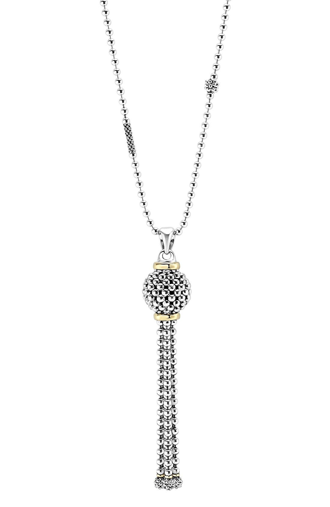 'Caviar Forever' Tassel Pendant Necklace,                             Alternate thumbnail 3, color,                             040