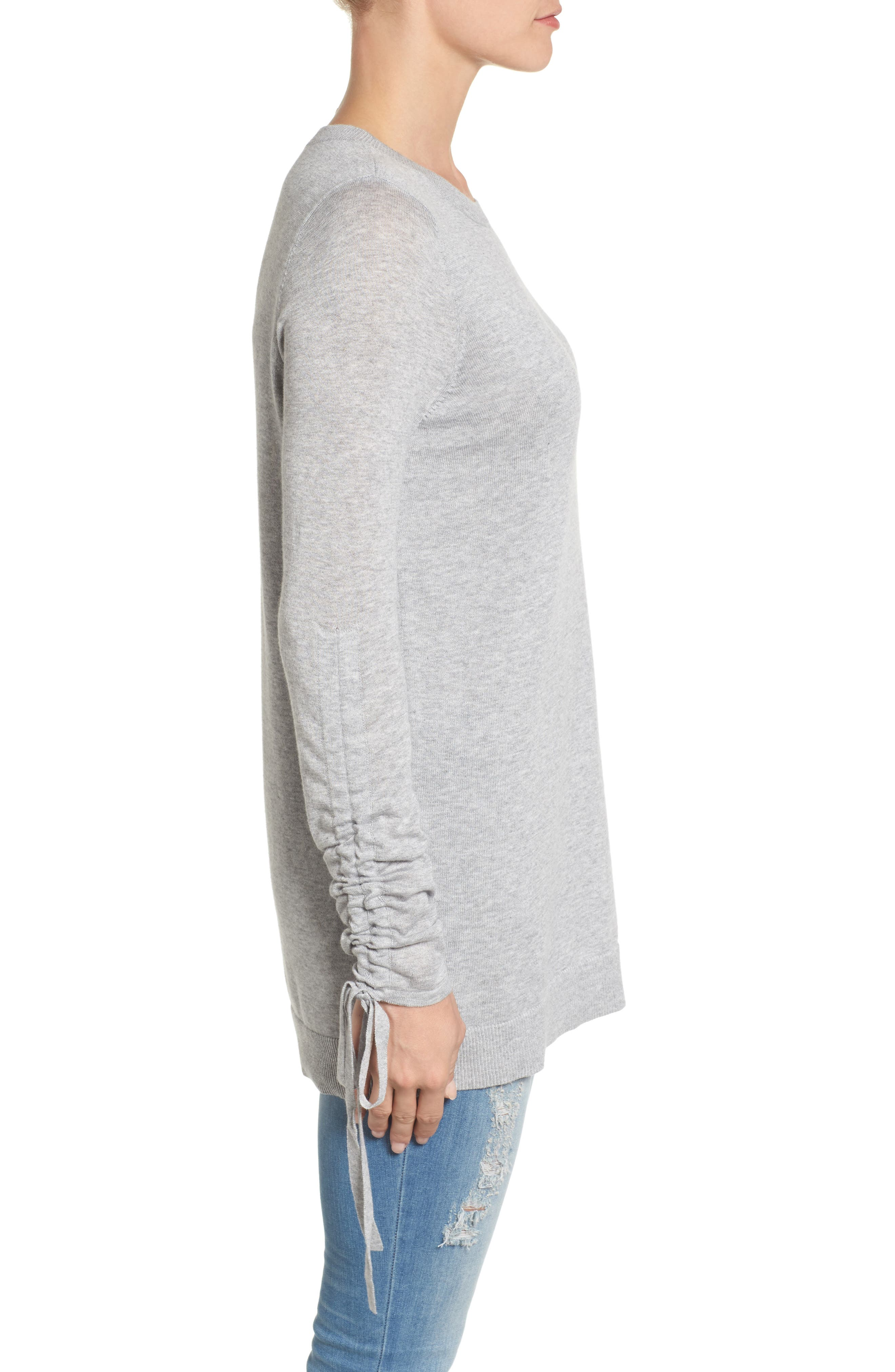 Ruched Sleeve Tunic Sweater,                             Alternate thumbnail 12, color,