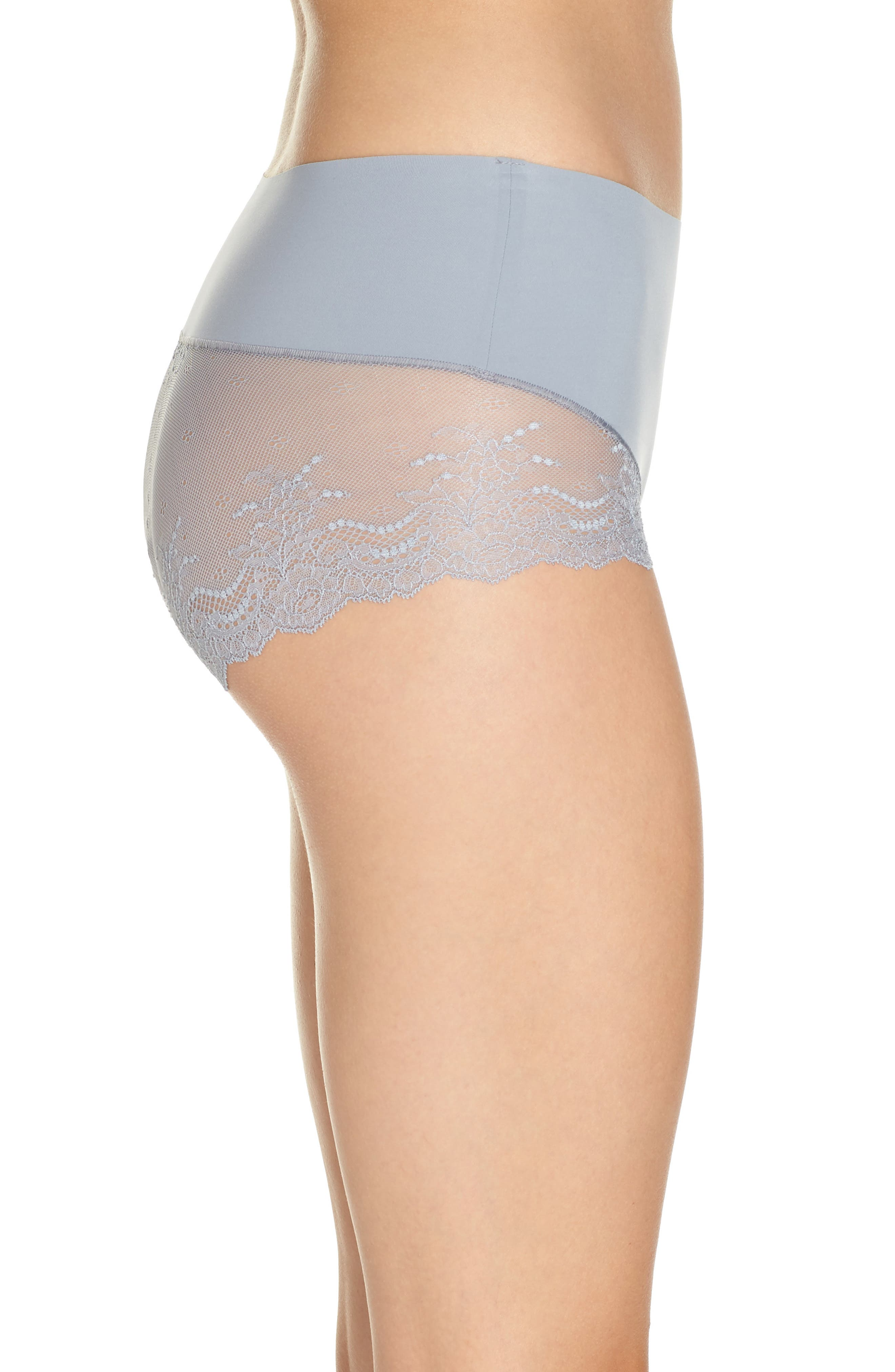 Undie-tectable Lace Hipster Panties,                             Alternate thumbnail 3, color,                             FOG GREY