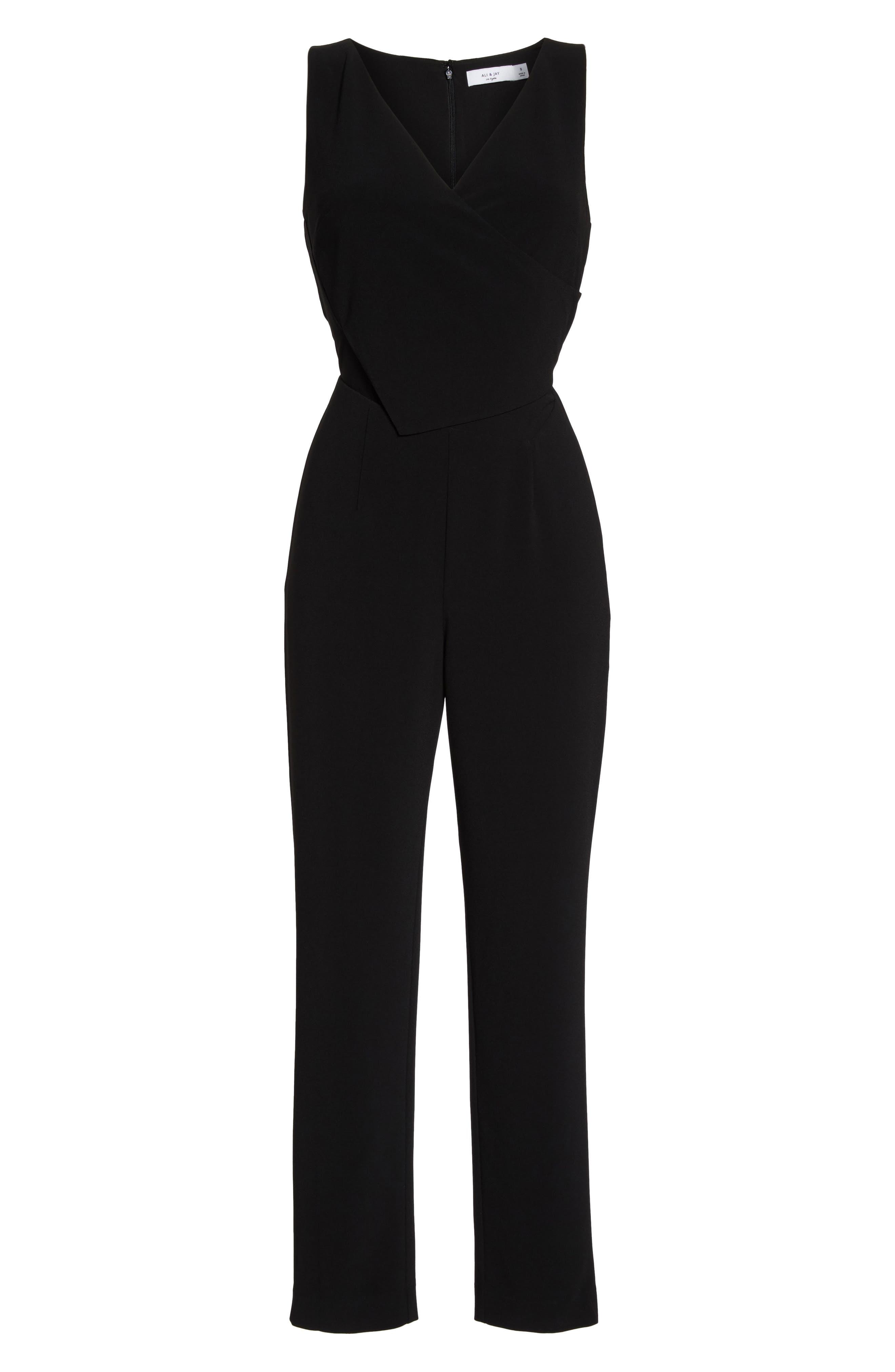 Asymmetrical Pleat Jumpsuit,                             Alternate thumbnail 6, color,                             001
