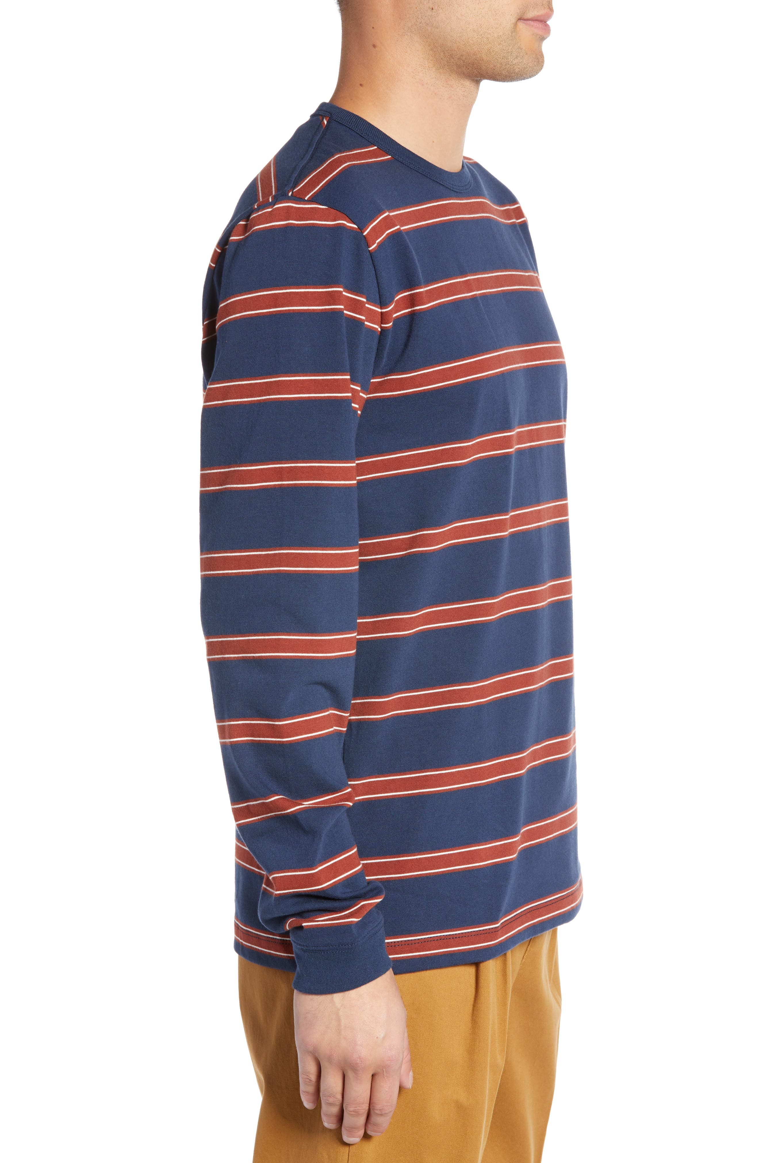 Watson Striped Long Sleeve T-Shirt,                             Alternate thumbnail 3, color,                             DRESS BLUES