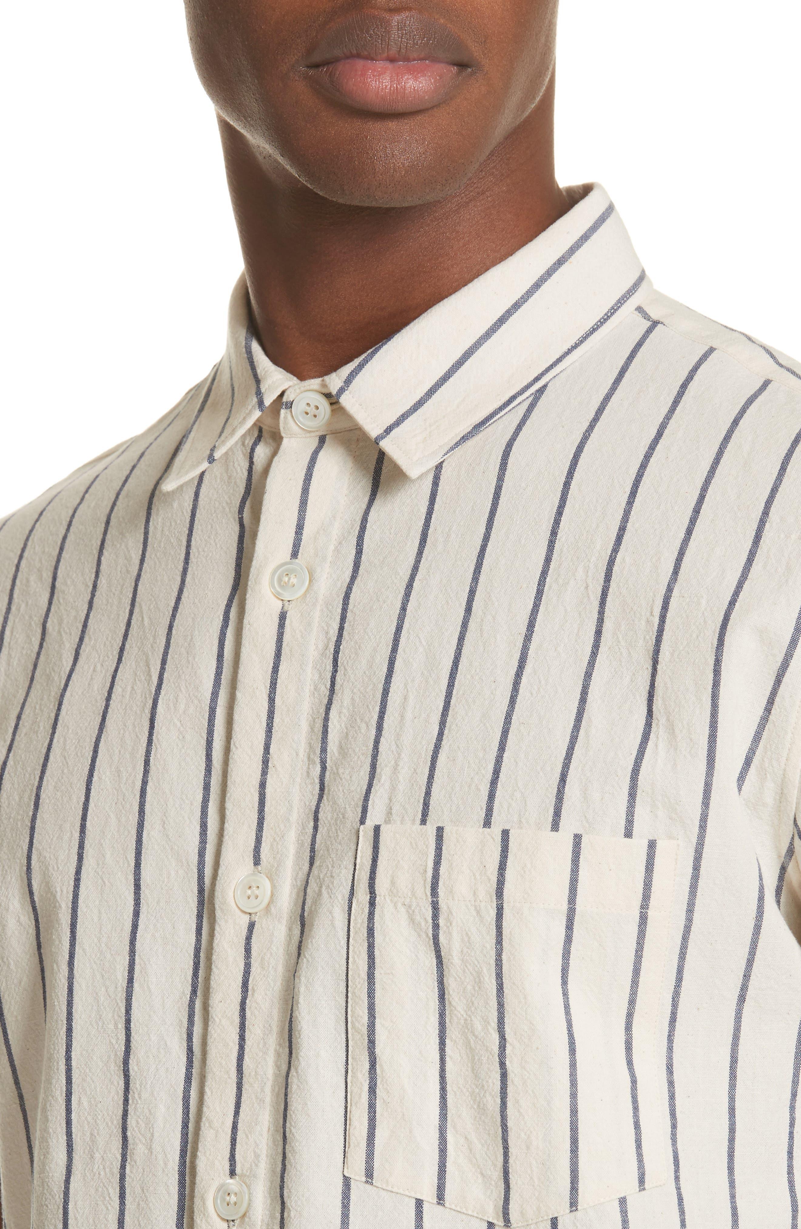 Bryan Stripe Woven Shirt,                             Alternate thumbnail 4, color,                             ECRU