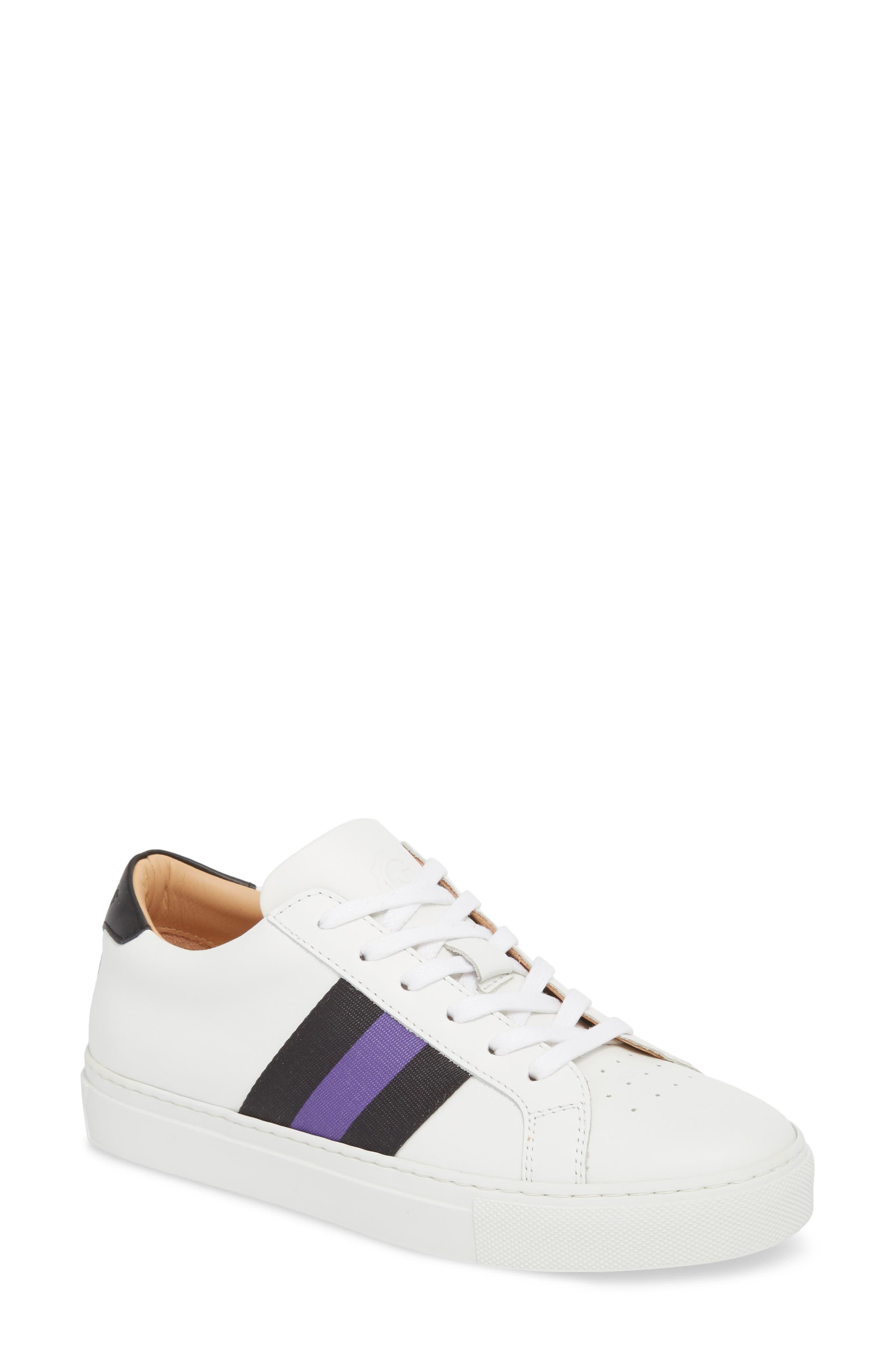 Royale Stripe Sneaker,                         Main,                         color, WHITE/ BLACK/ VIOLET