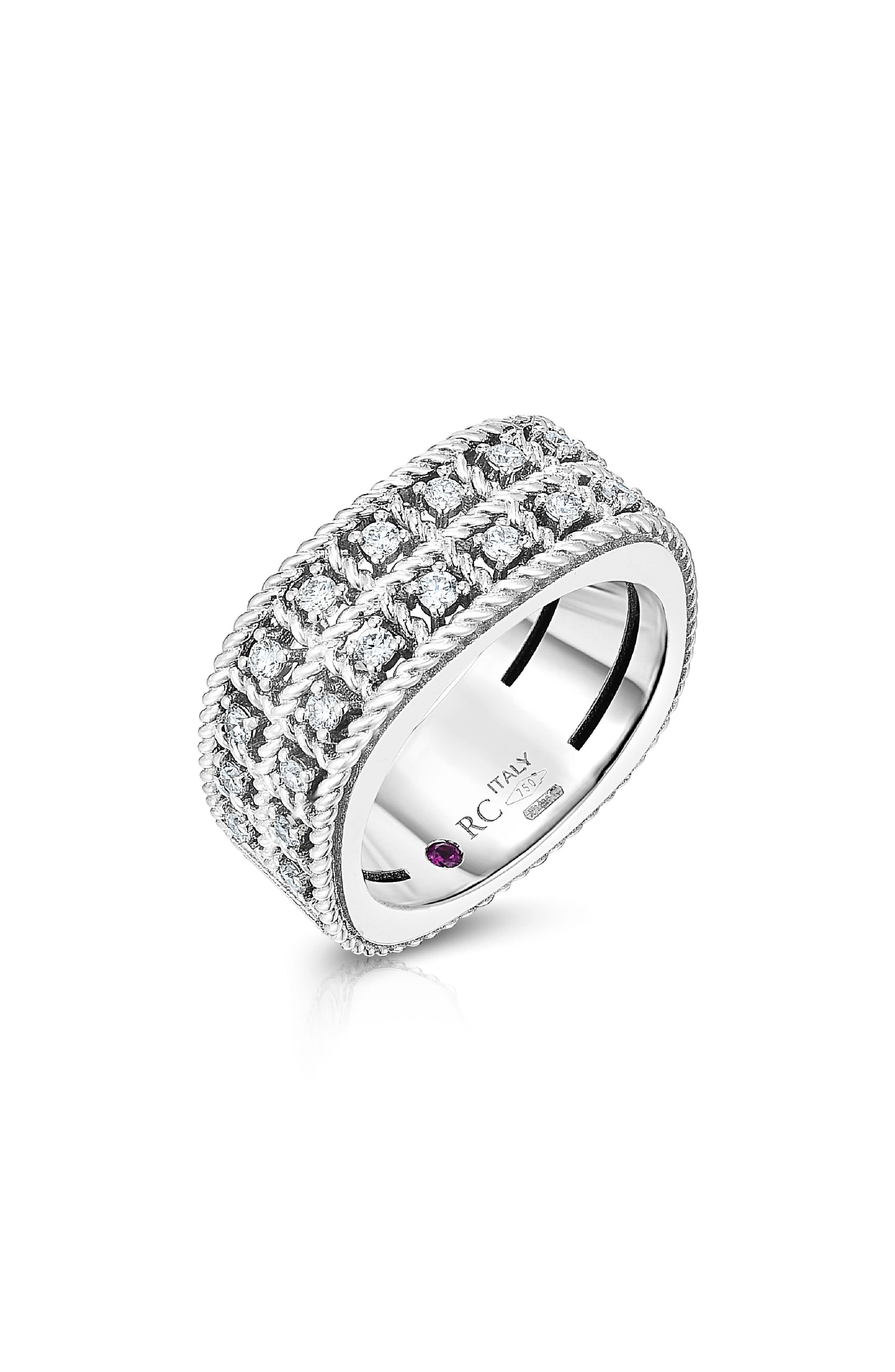 Roberto Coin Accessories BYZANTINE DOUBLE ROW DIAMOND RING