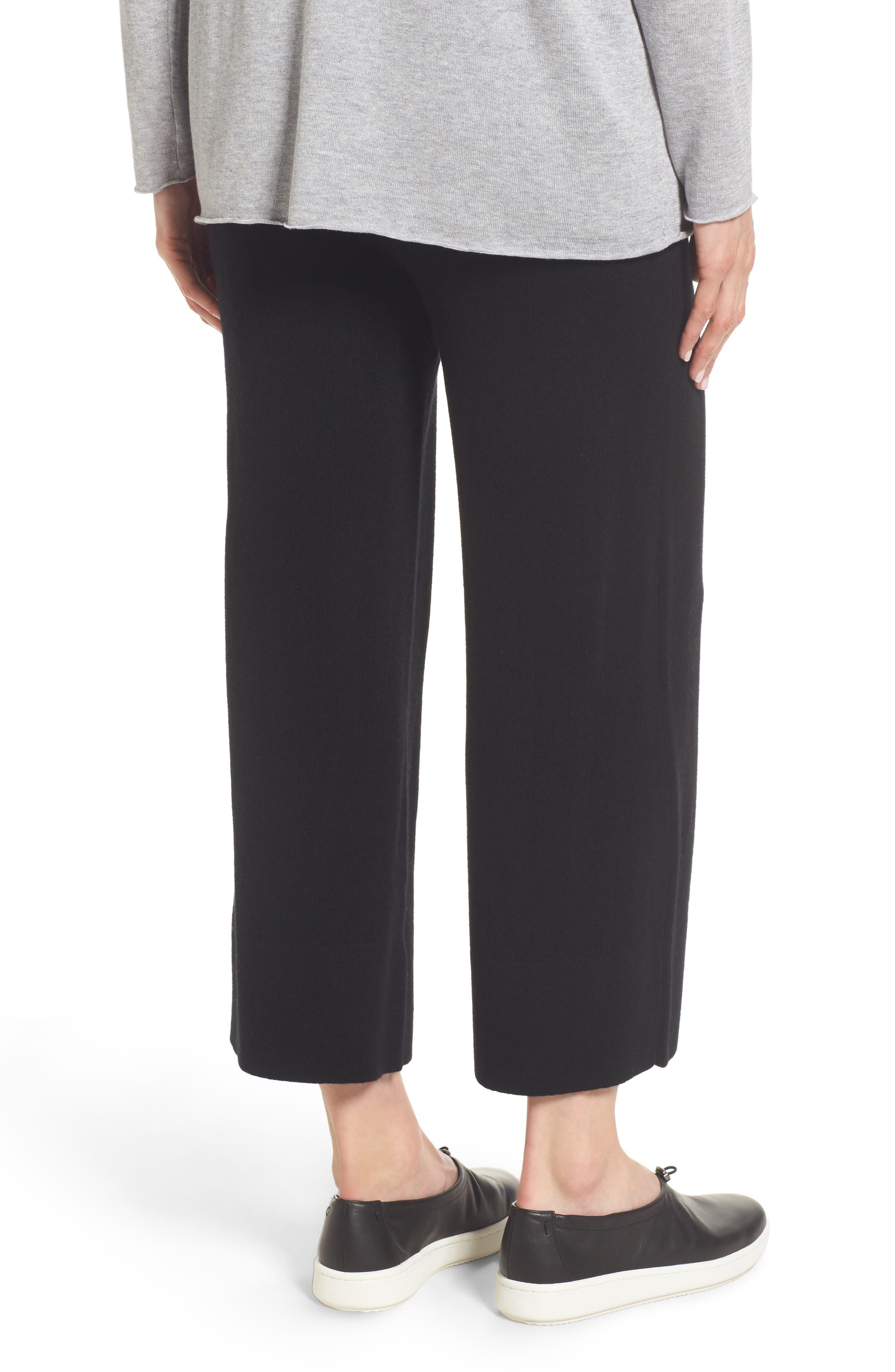 Knit Cashmere Ankle Pants,                             Alternate thumbnail 2, color,                             001