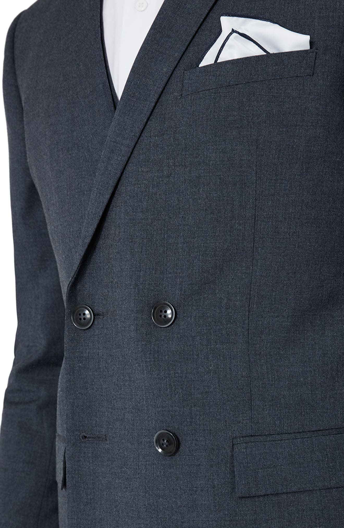 Skinny Fit Double Breasted Suit Jacket,                             Alternate thumbnail 3, color,                             410