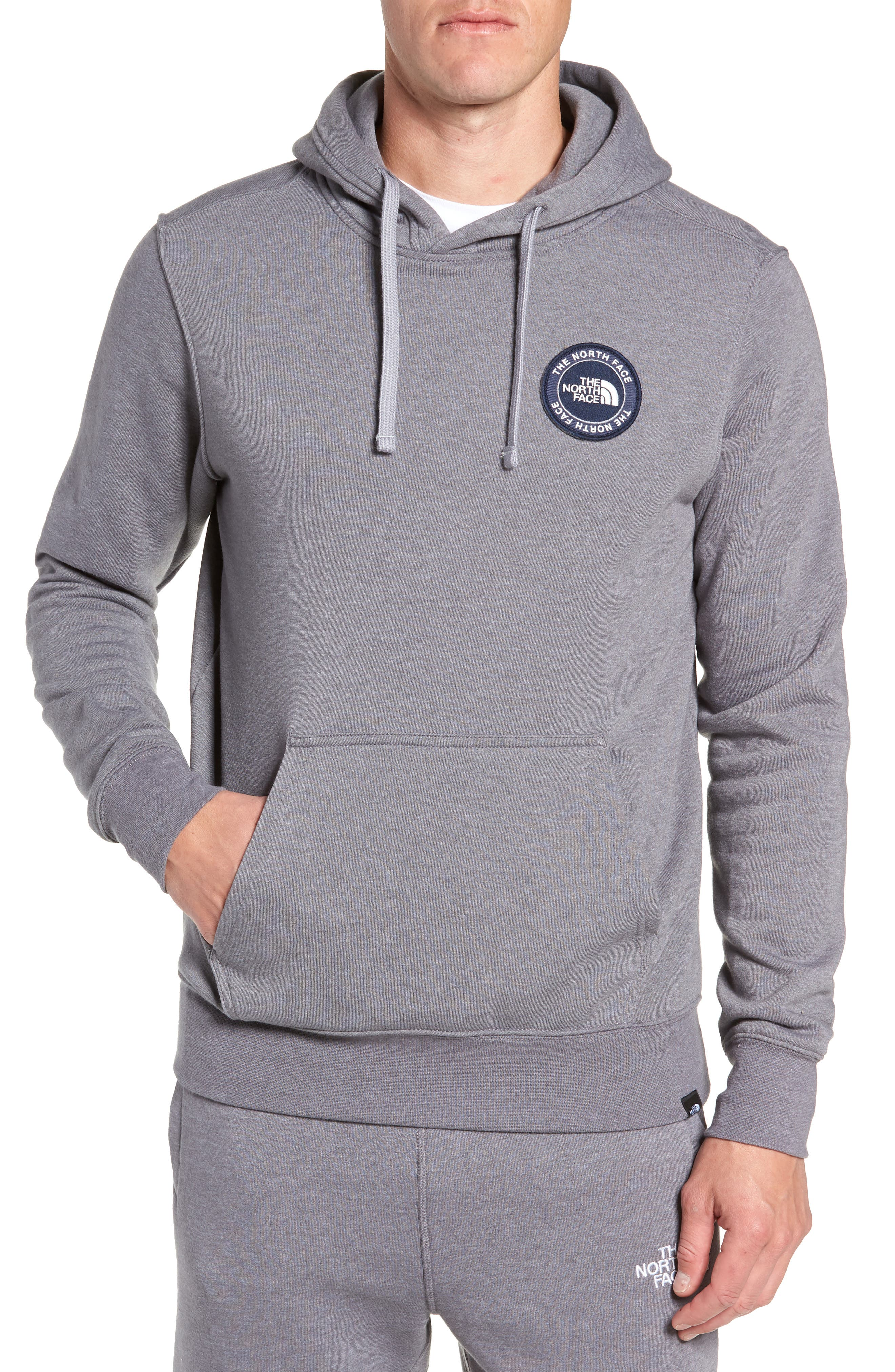 North Face Logo Patch Pullover Hoodie,                             Main thumbnail 1, color,                             TNF MEDIUM GREY HEATHER