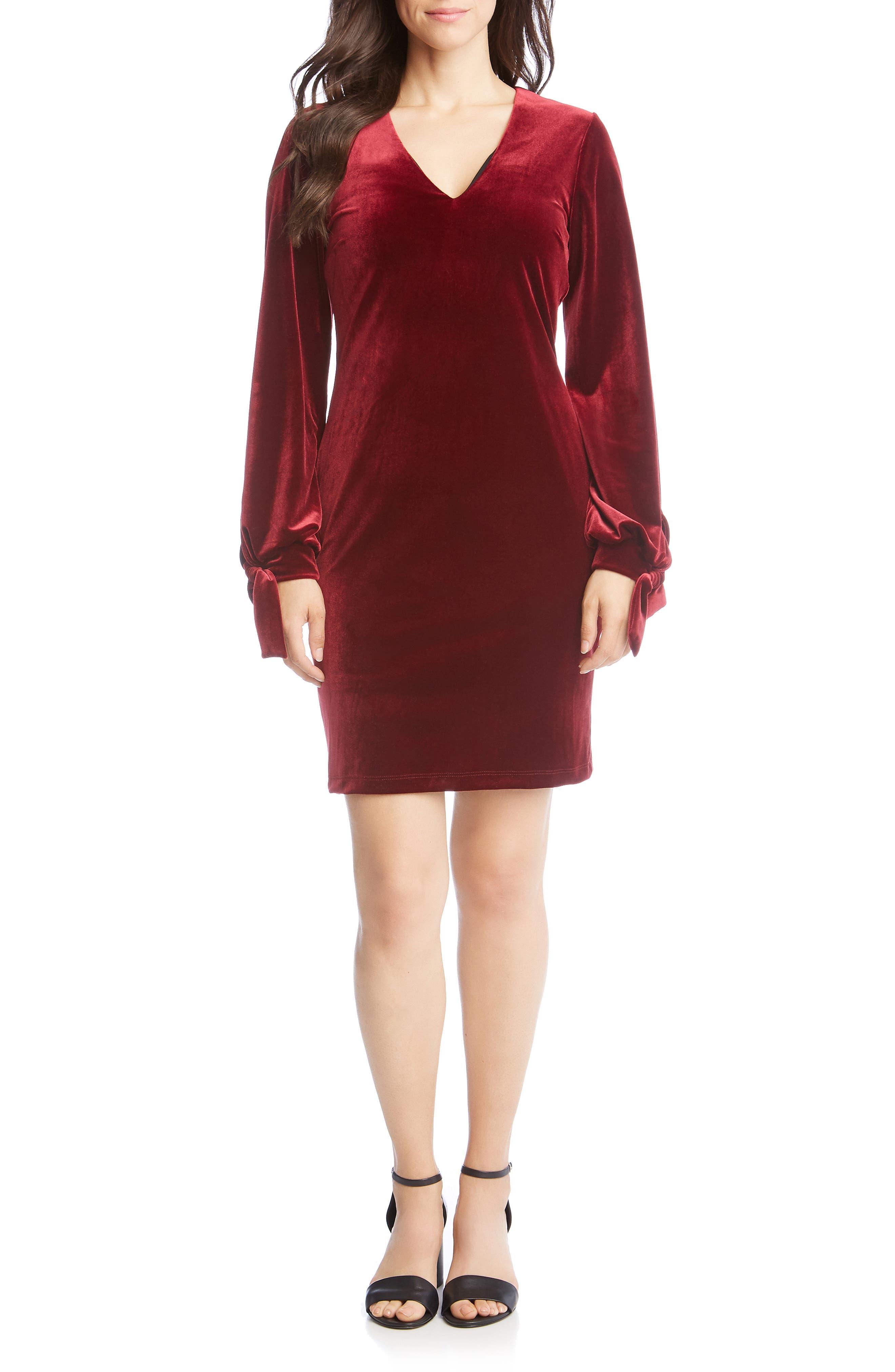 Velvet Tie Sleeve Dress,                             Main thumbnail 1, color,                             WINE