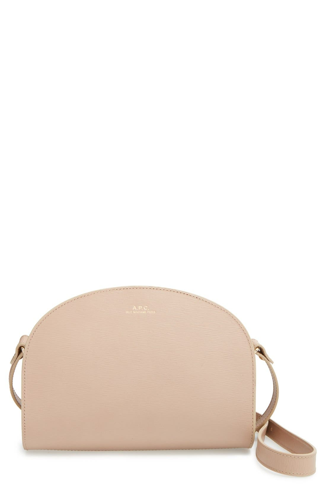 A.P.C.,                             'Demi Lune' Embossed Leather Crossbody Bag,                             Main thumbnail 1, color,                             250