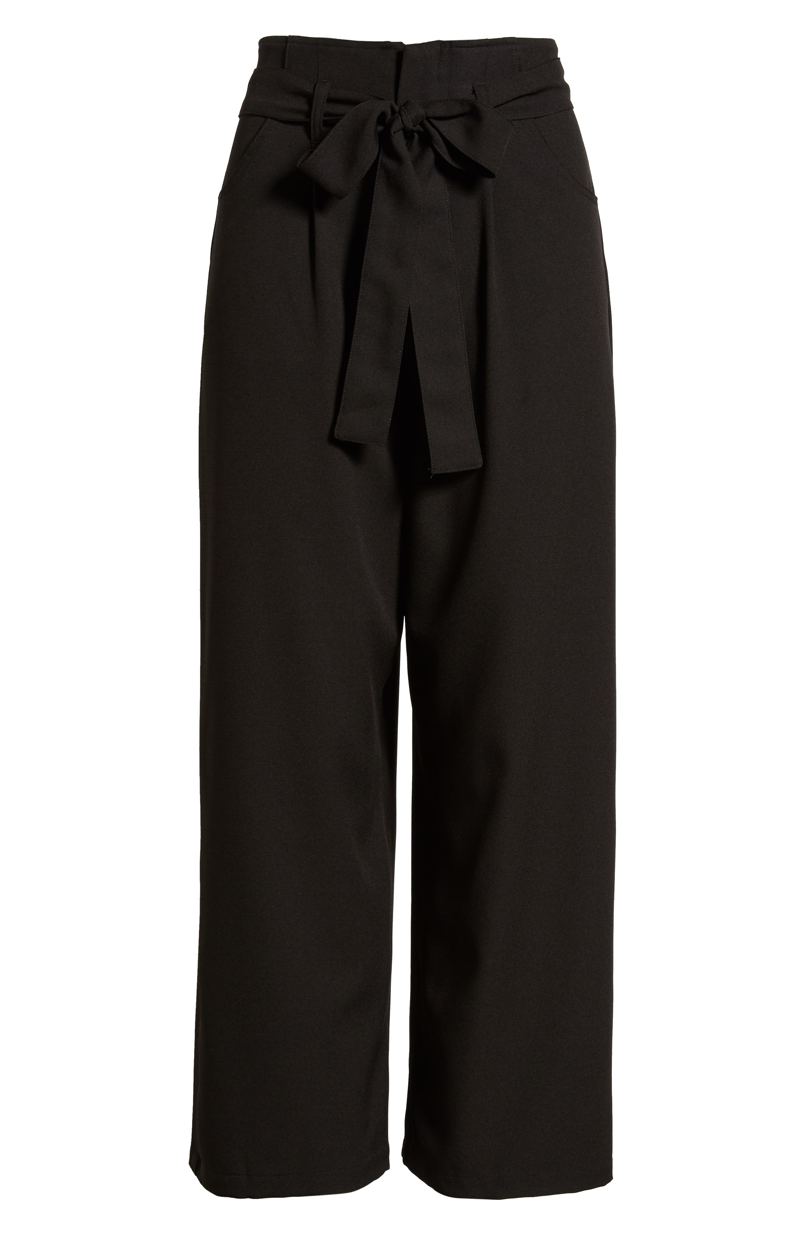 Tie Waist Crop Pants,                             Alternate thumbnail 7, color,                             001