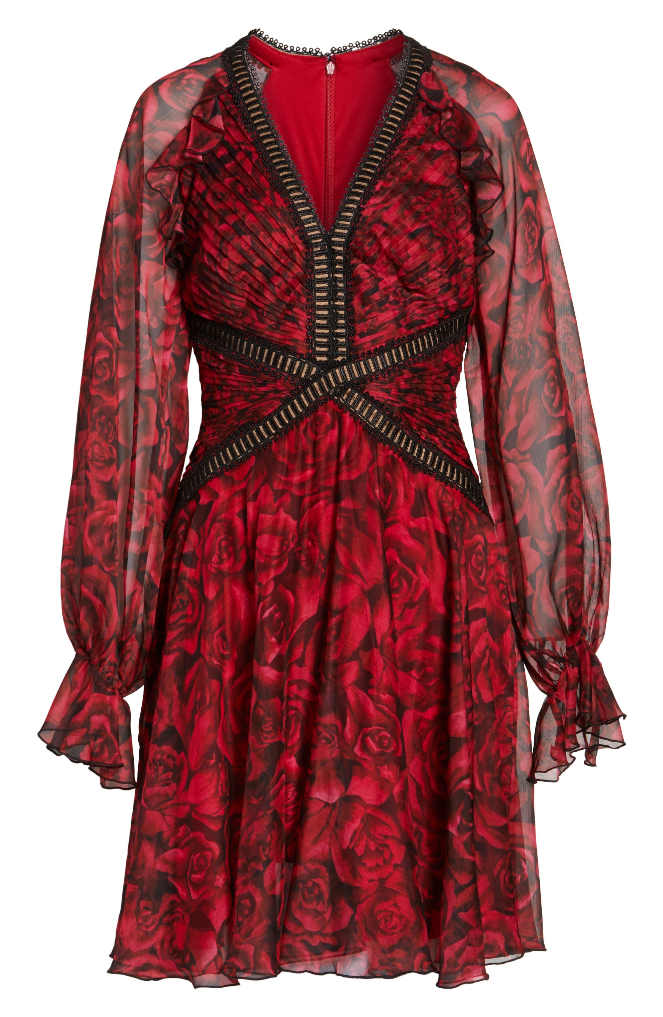Rose Print Pleated Chiffon Dress,                             Alternate thumbnail 6, color,                             616