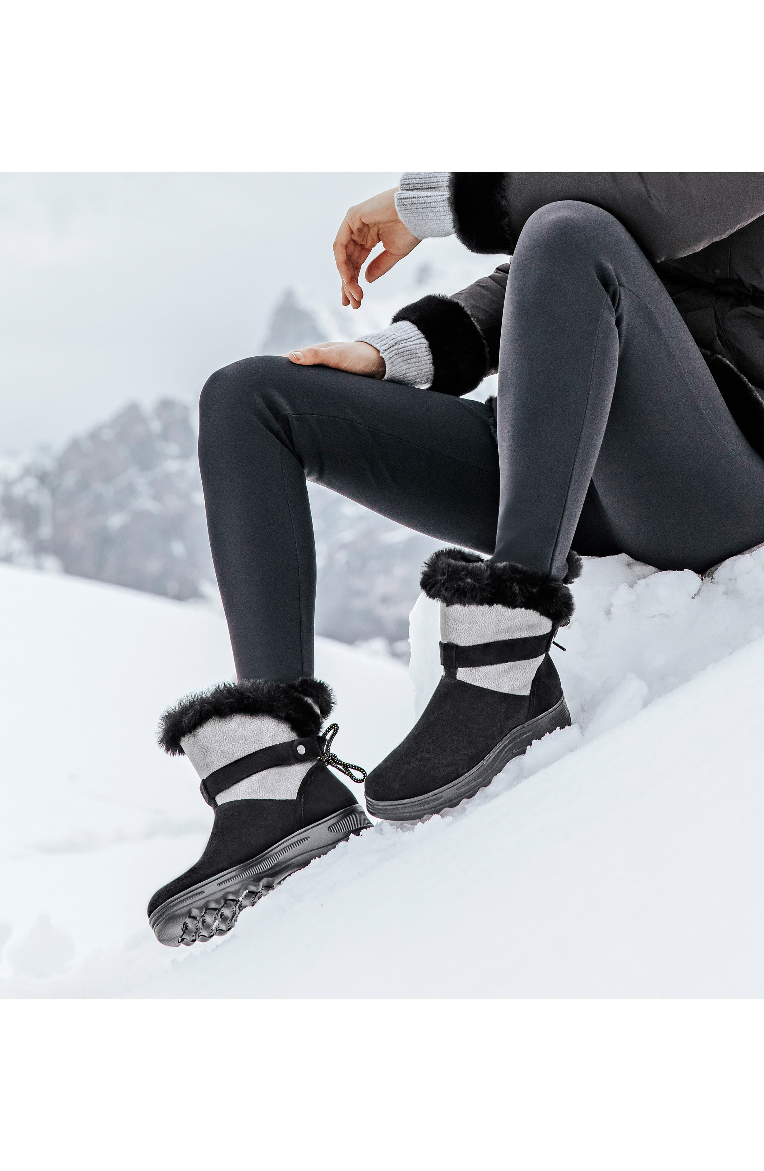 Hosmos ABX Waterproof Faux Fur Trim Boot,                             Alternate thumbnail 6, color,                             BLACK/ DARK GREY SUEDE