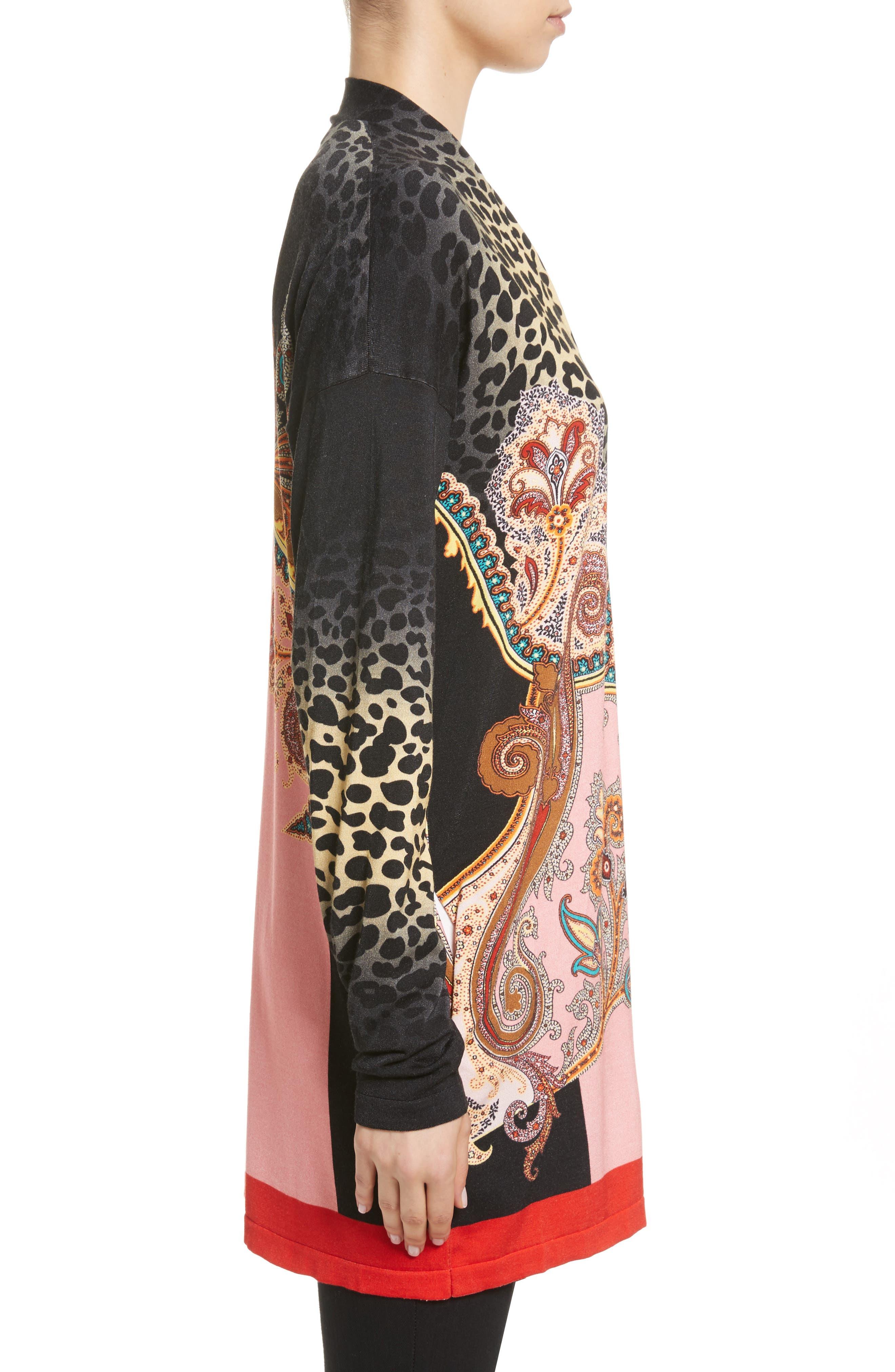 Leopard Paisley Stretch Silk Cardigan,                             Alternate thumbnail 3, color,                             001