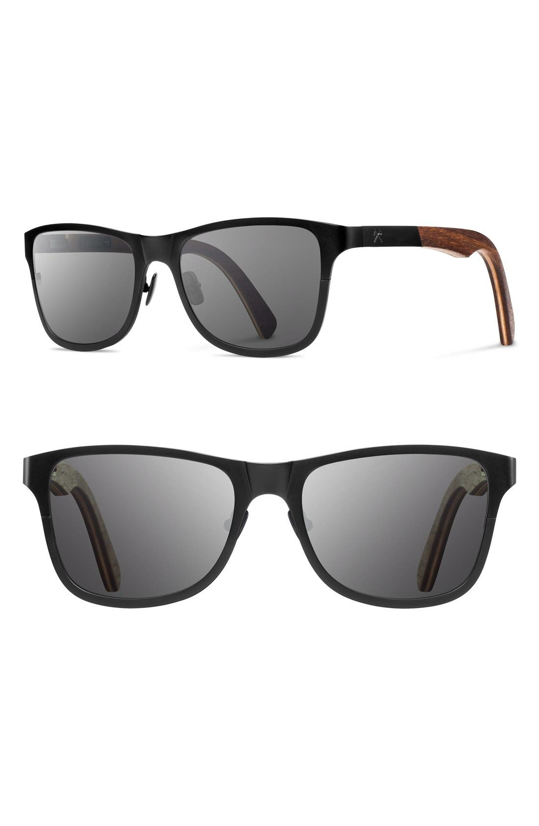 'Canby' 54mm Titanium & Wood Sunglasses,                             Main thumbnail 1, color,                             BLACK/ WALNUT