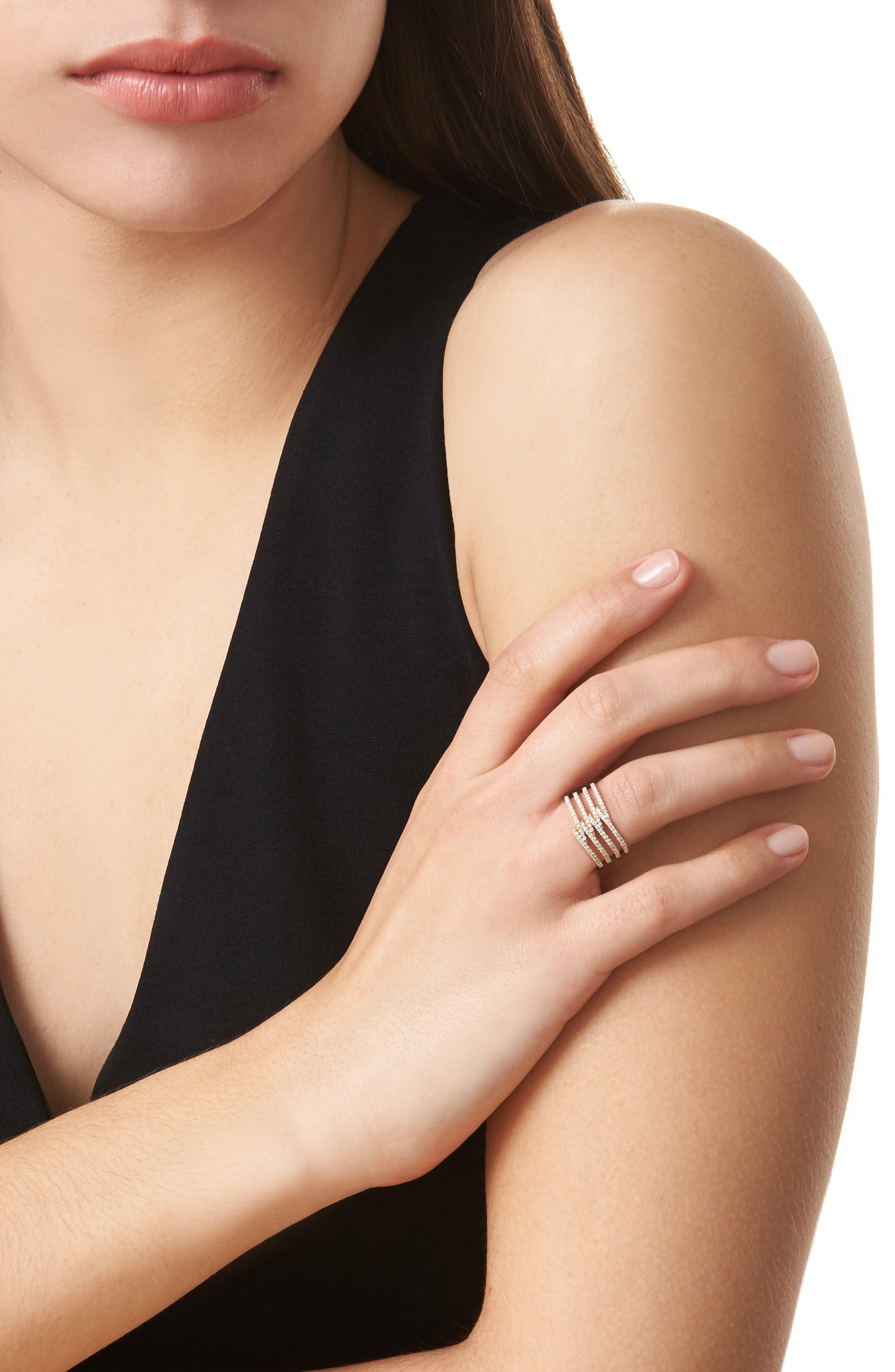 Kiera Four-Row Diamond Ring,                             Alternate thumbnail 2, color,                             YELLOW GOLD