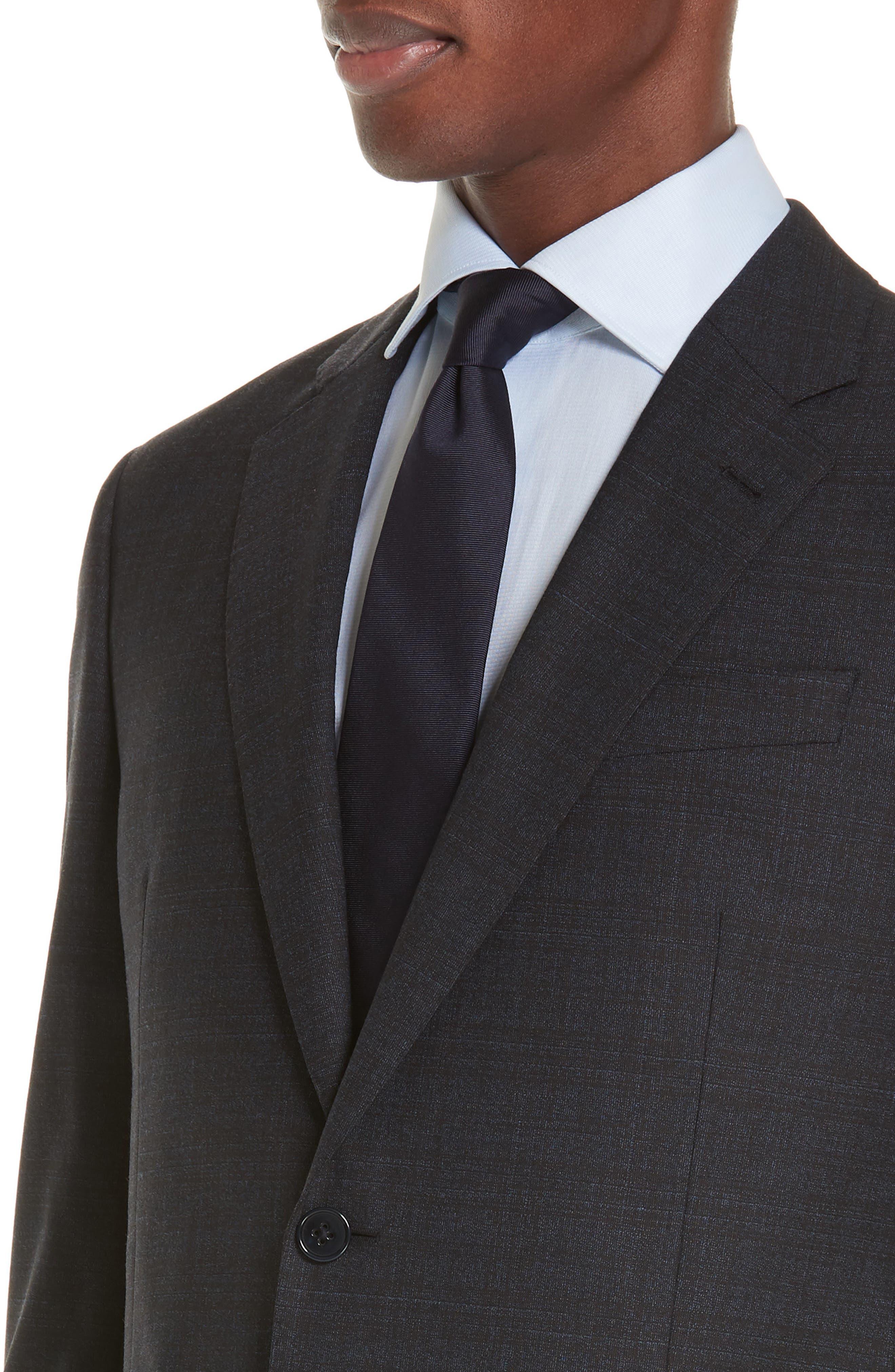 G-Line Trim Fit Stretch Plaid Wool Suit,                             Alternate thumbnail 4, color,                             NAVY/ BROWN