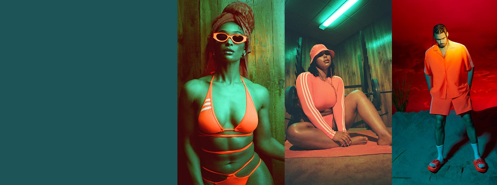 adidas x IVY PARK Swim: a woman in a long-sleeve rashguard with bikini bottoms and bucket hat, woman in a bikini with wrap-tie detail around the waist, man in a swim shirt and shorts with slides, all in solar orange.