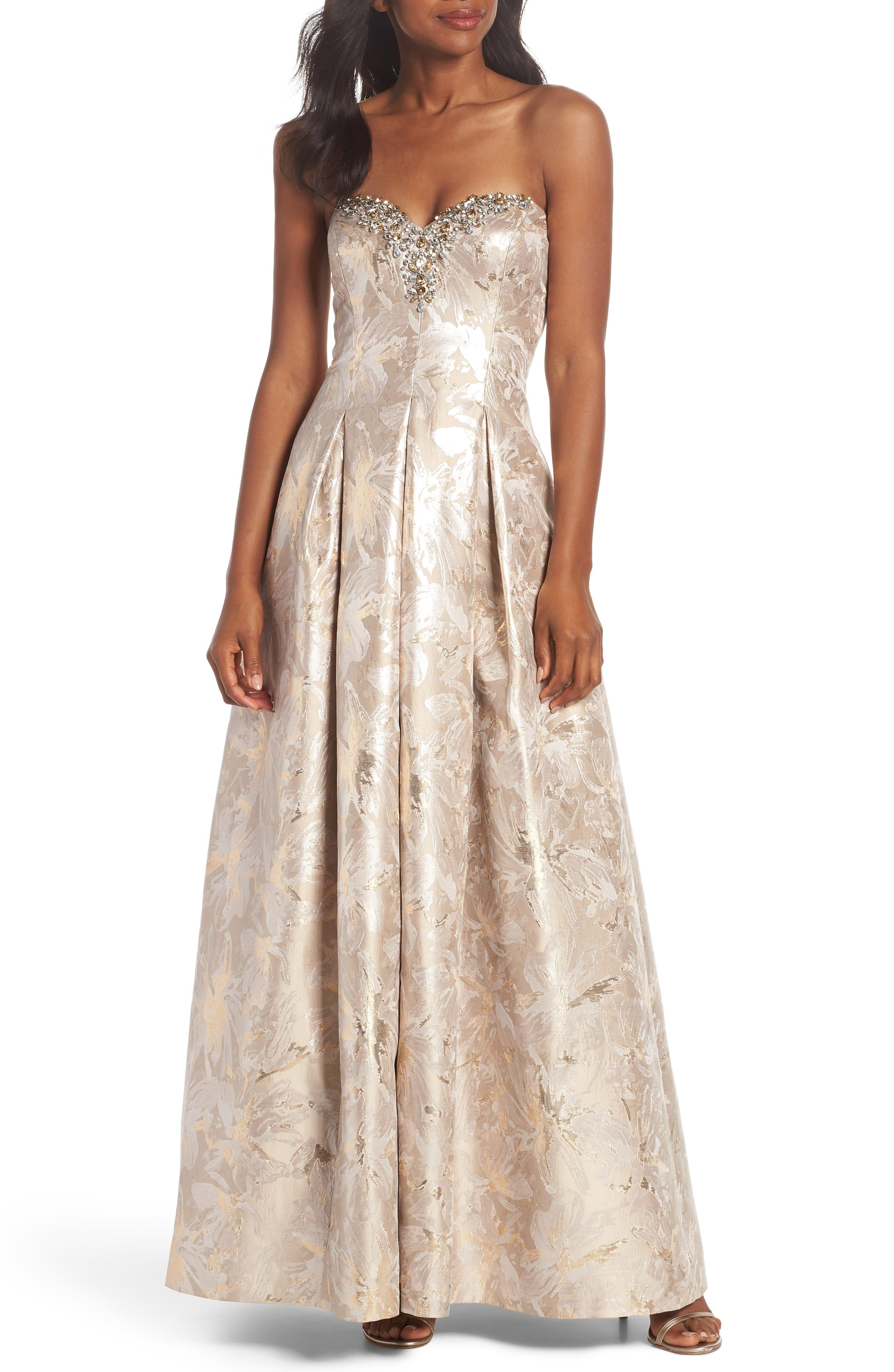 Bejeweled Neckline Strapless Ballgown,                             Main thumbnail 1, color,                             CHAMPAGNE