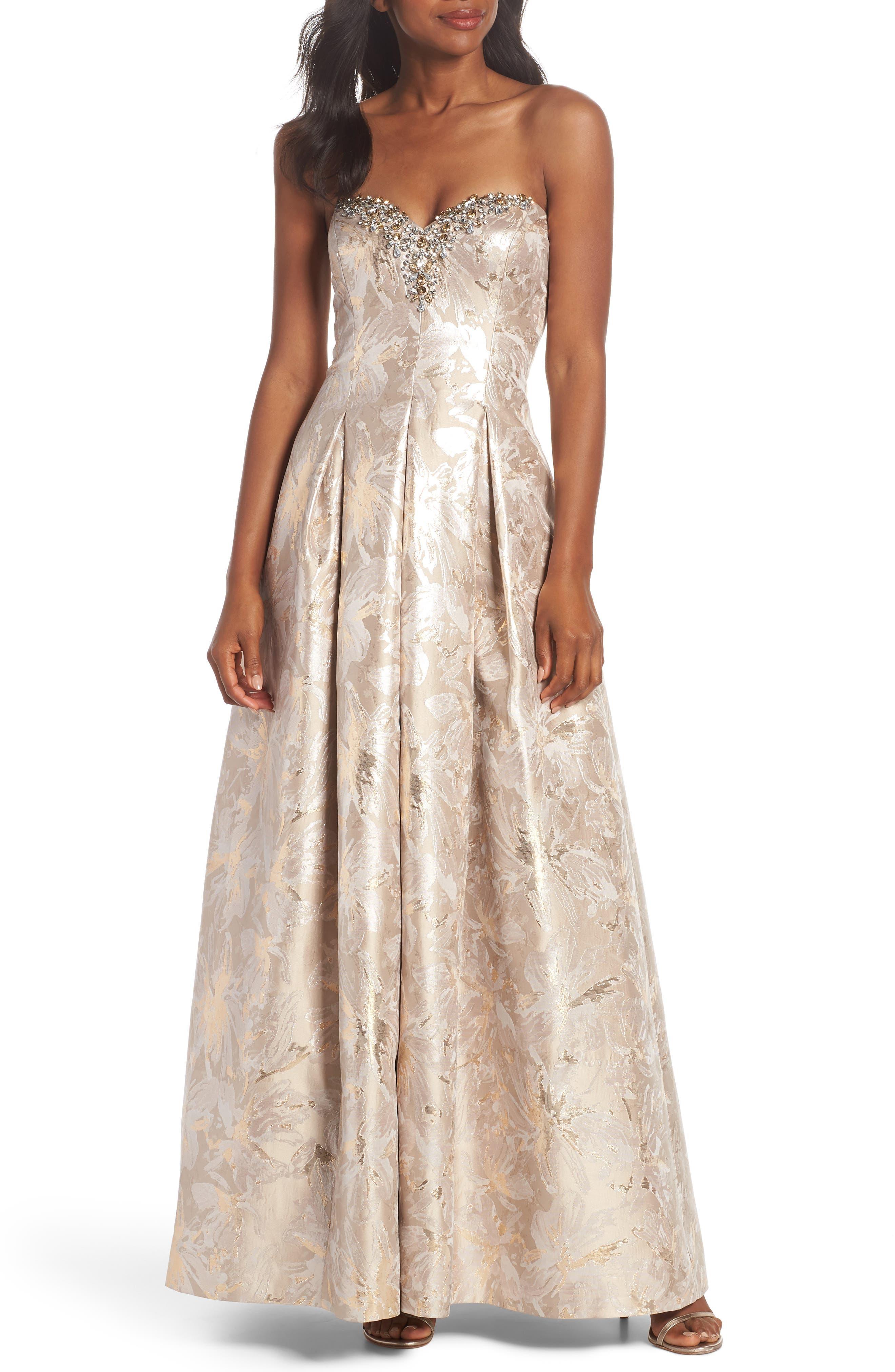 Bejeweled Neckline Strapless Ballgown,                         Main,                         color, 258