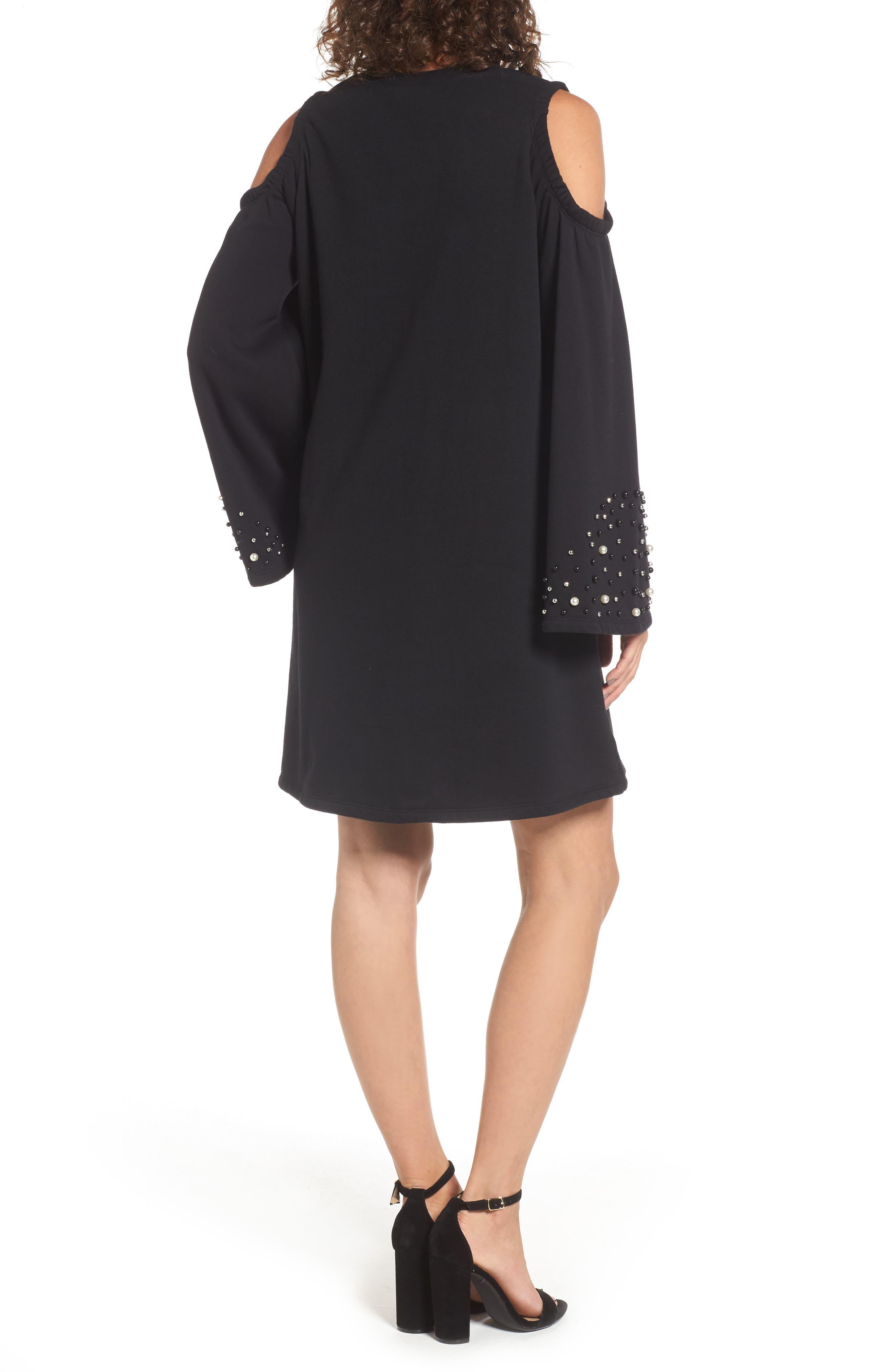 Embellished Cold Shoulder Sweatshirt Dress,                             Alternate thumbnail 3, color,