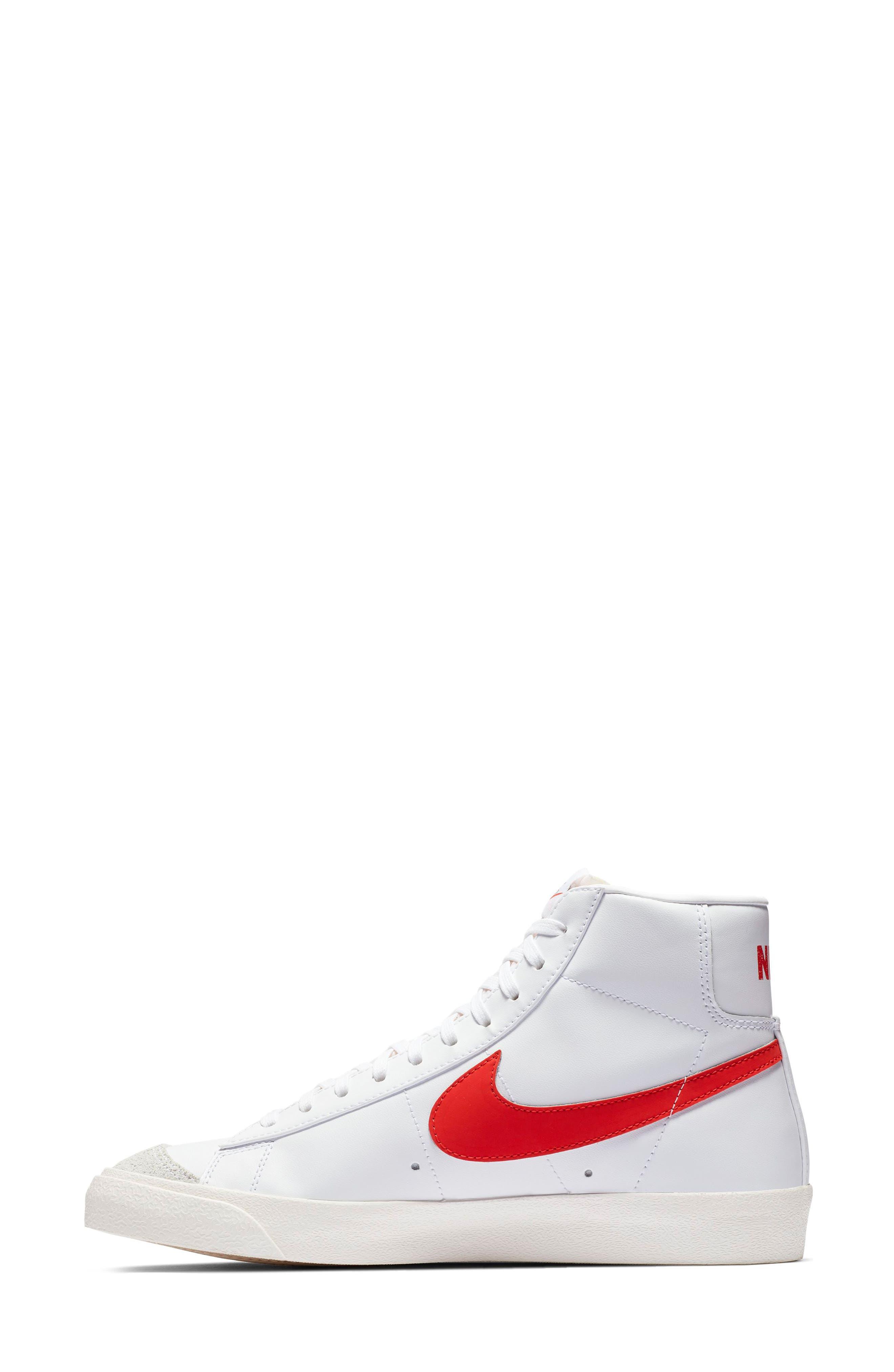 Blazer Mid '77 Vintage Sneaker,                             Alternate thumbnail 3, color,                             HABANERO RED/ SAIL/ WHITE