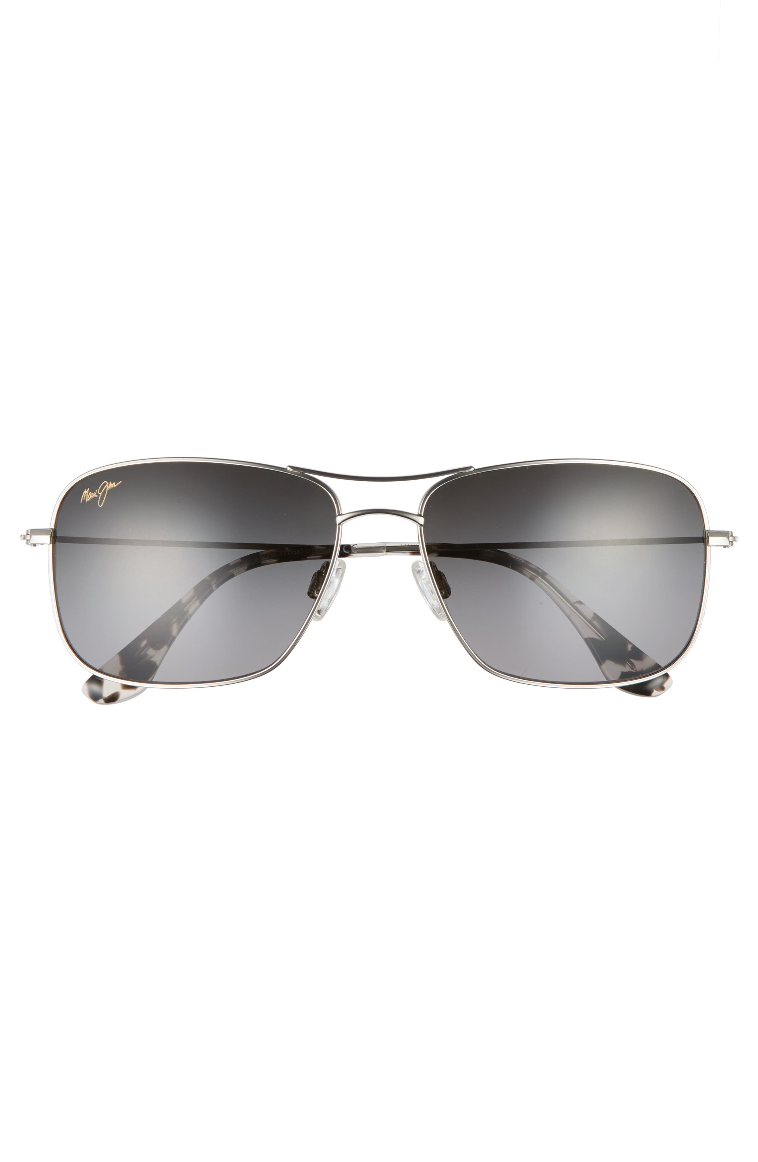 Wiki Wiki 59mm PolarizedPlus2<sup>®</sup> Aviator Sunglasses,                             Alternate thumbnail 3, color,                             SILVER/ NEUTRAL GREY