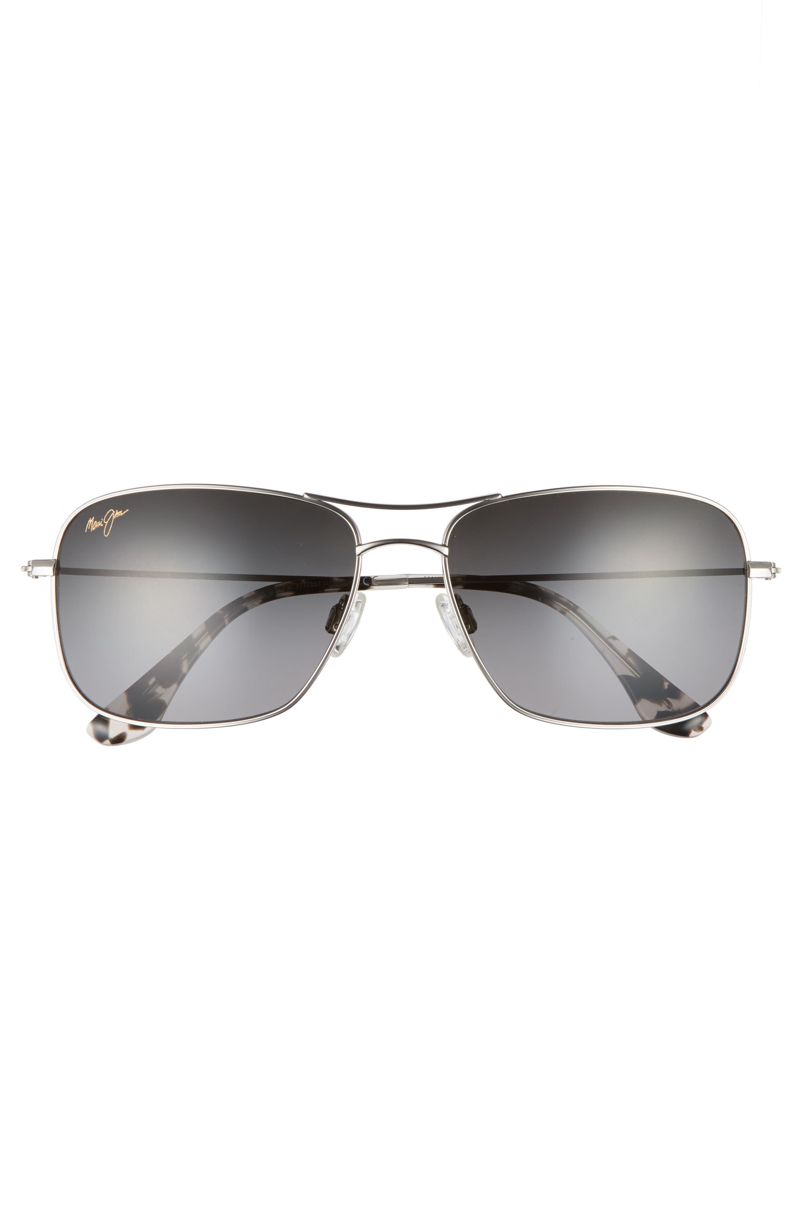 Wiki Wiki 59mm PolarizedPlus2<sup>®</sup> Aviator Sunglasses,                             Alternate thumbnail 4, color,                             SILVER/ NEUTRAL GREY