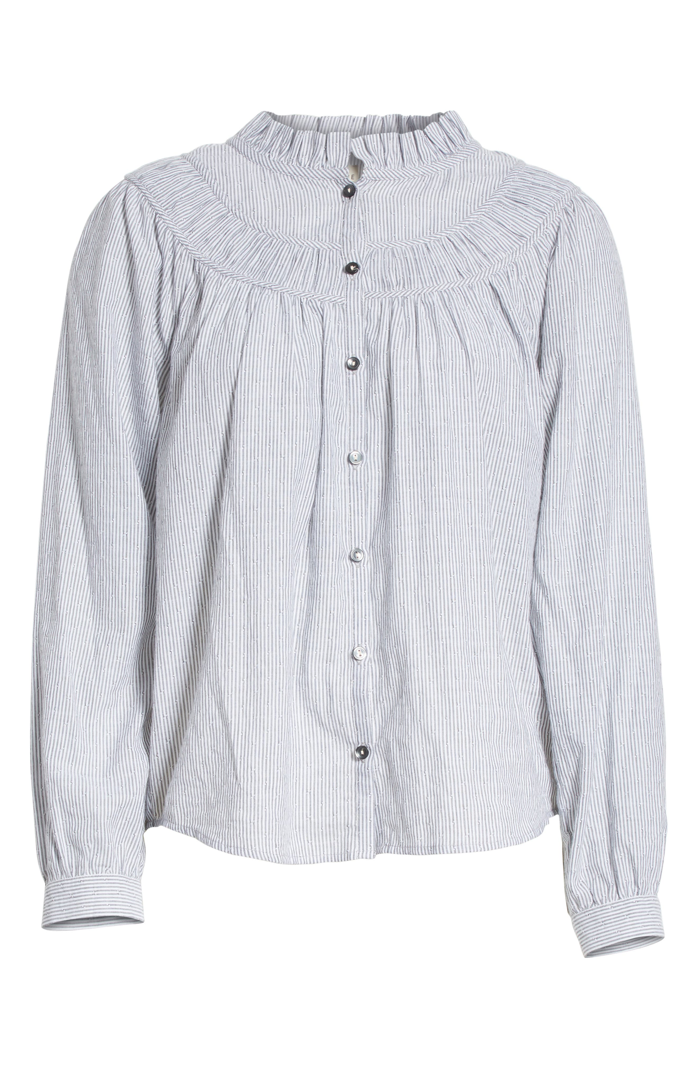 Stripe Long Sleeve Ruffle Shirt,                             Alternate thumbnail 6, color,                             057