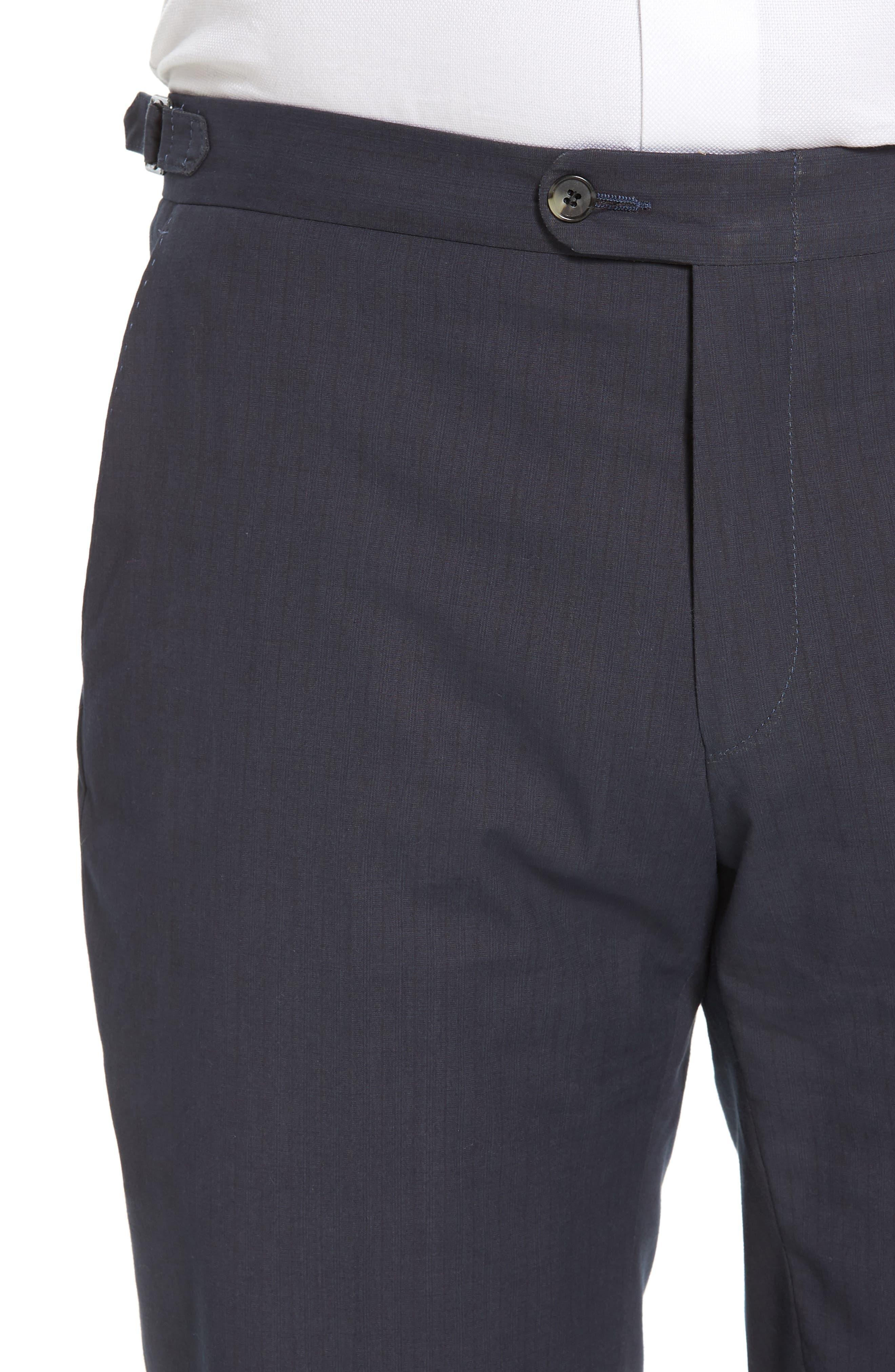Flat Front Stripe Stretch Cotton Trousers,                             Alternate thumbnail 4, color,                             422