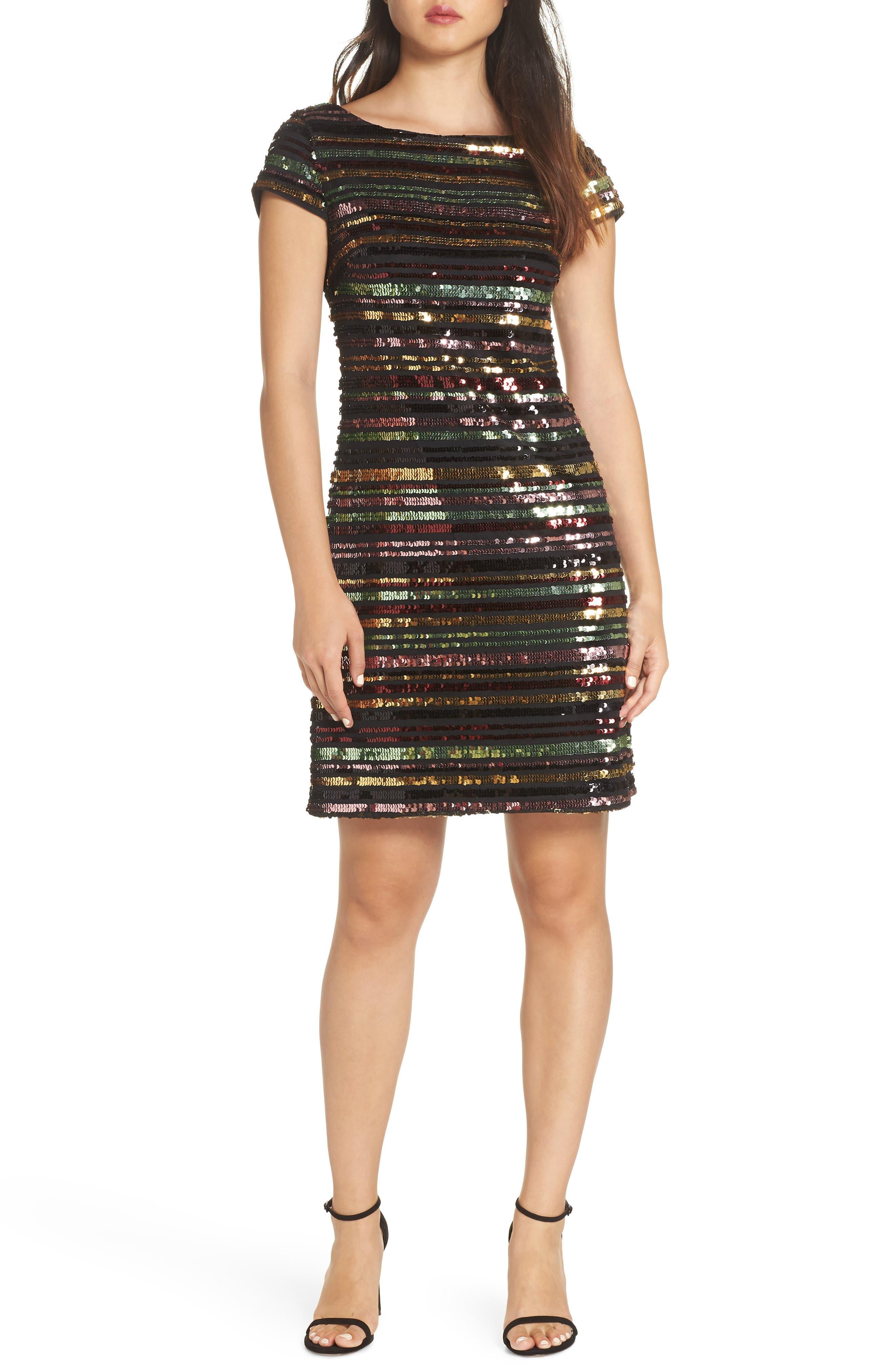 Sequin Stripe Dress,                             Main thumbnail 1, color,                             SEQUIN PRINT