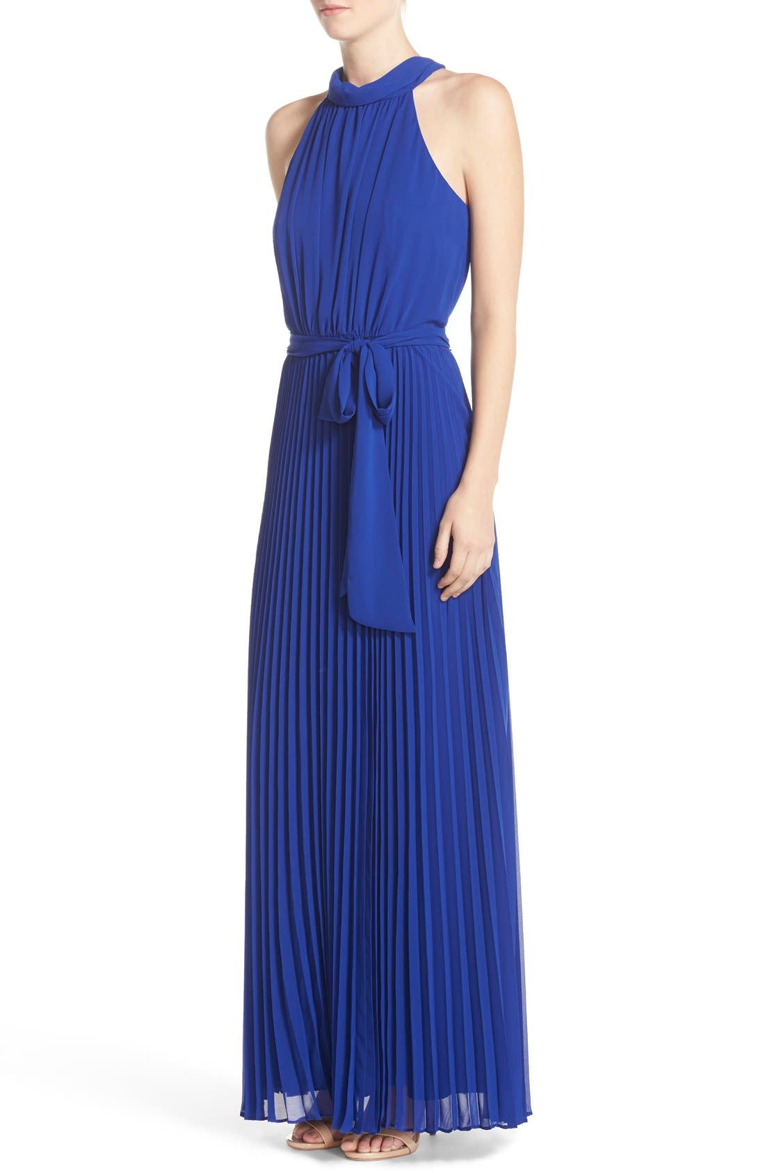 Pleated Chiffon Maxi Dress,                             Alternate thumbnail 3, color,                             430
