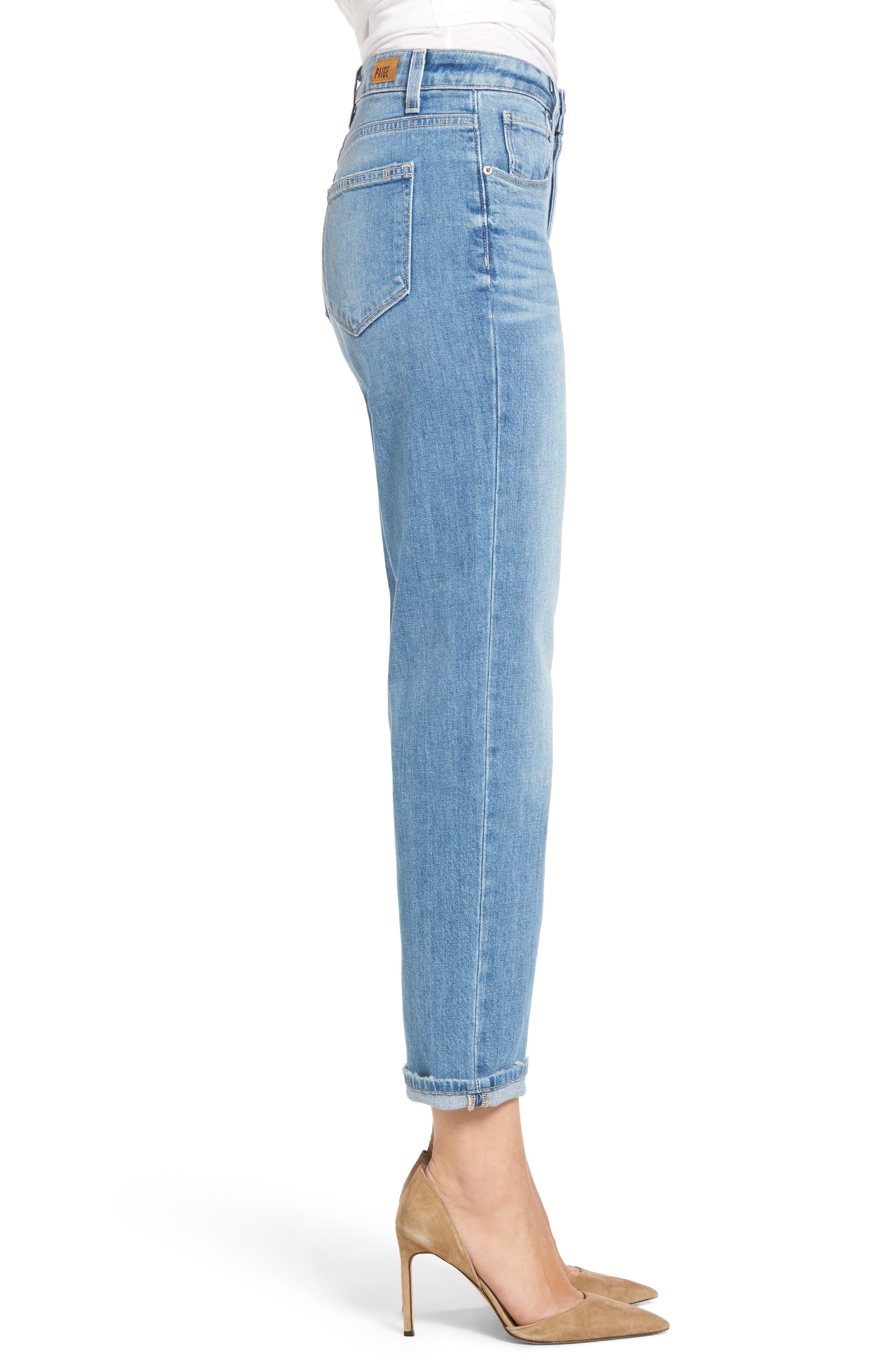 Sarah High Waist Crop Straight Leg Jeans,                             Alternate thumbnail 4, color,                             400