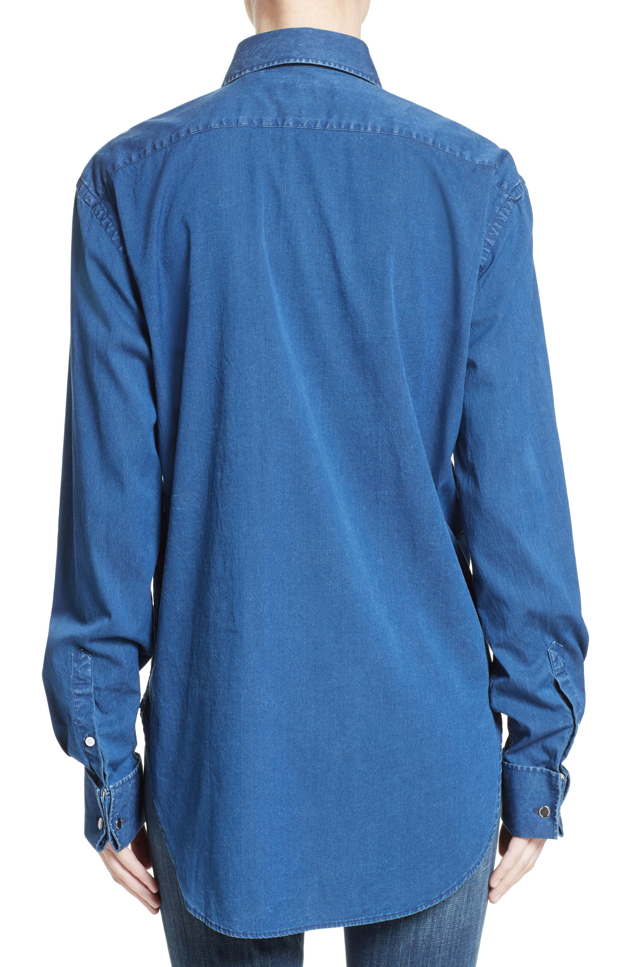 Jaden Pintuck Denim Shirt,                             Alternate thumbnail 2, color,                             409